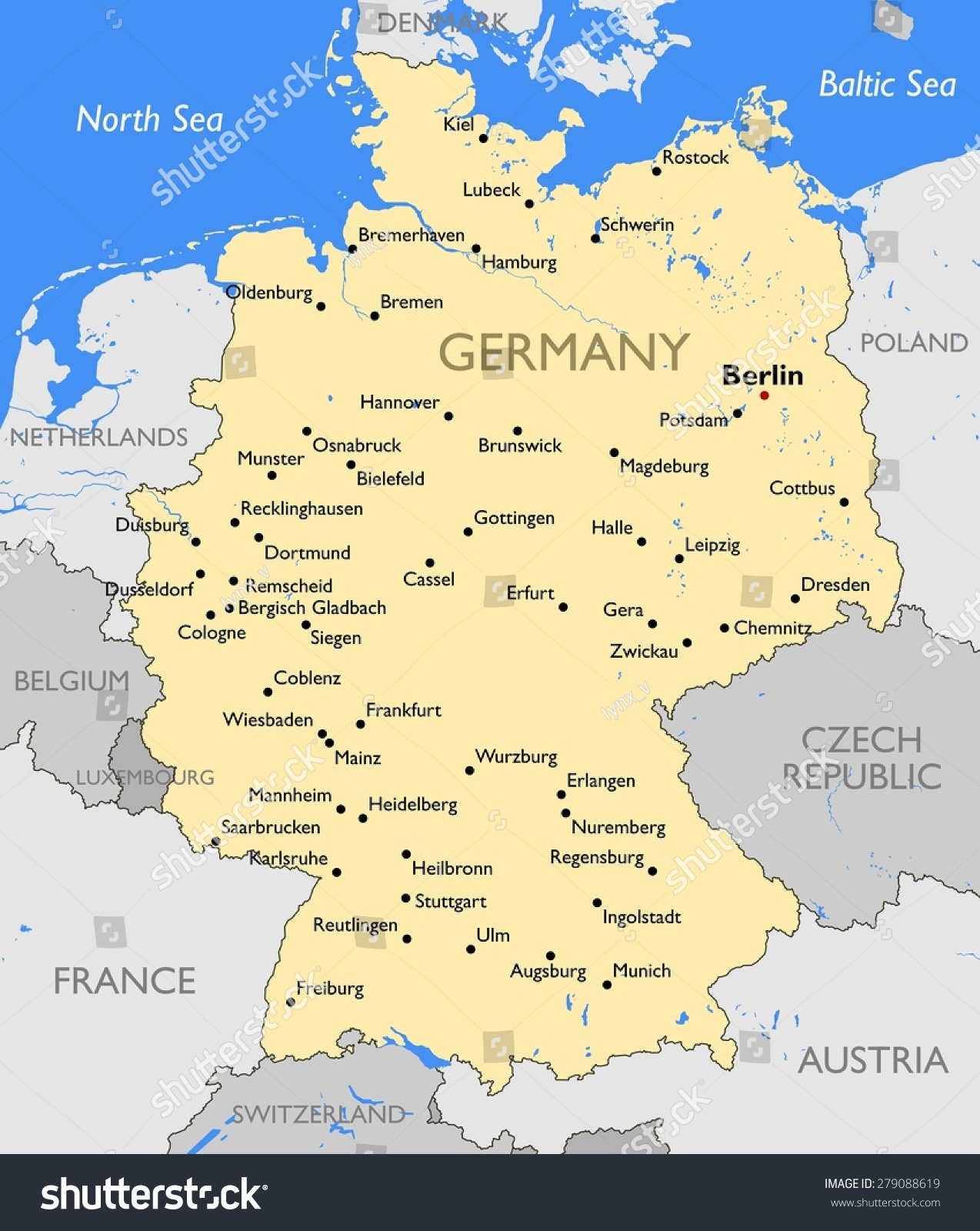 Germany Map Stock Illustration Shutterstock - Germany map view