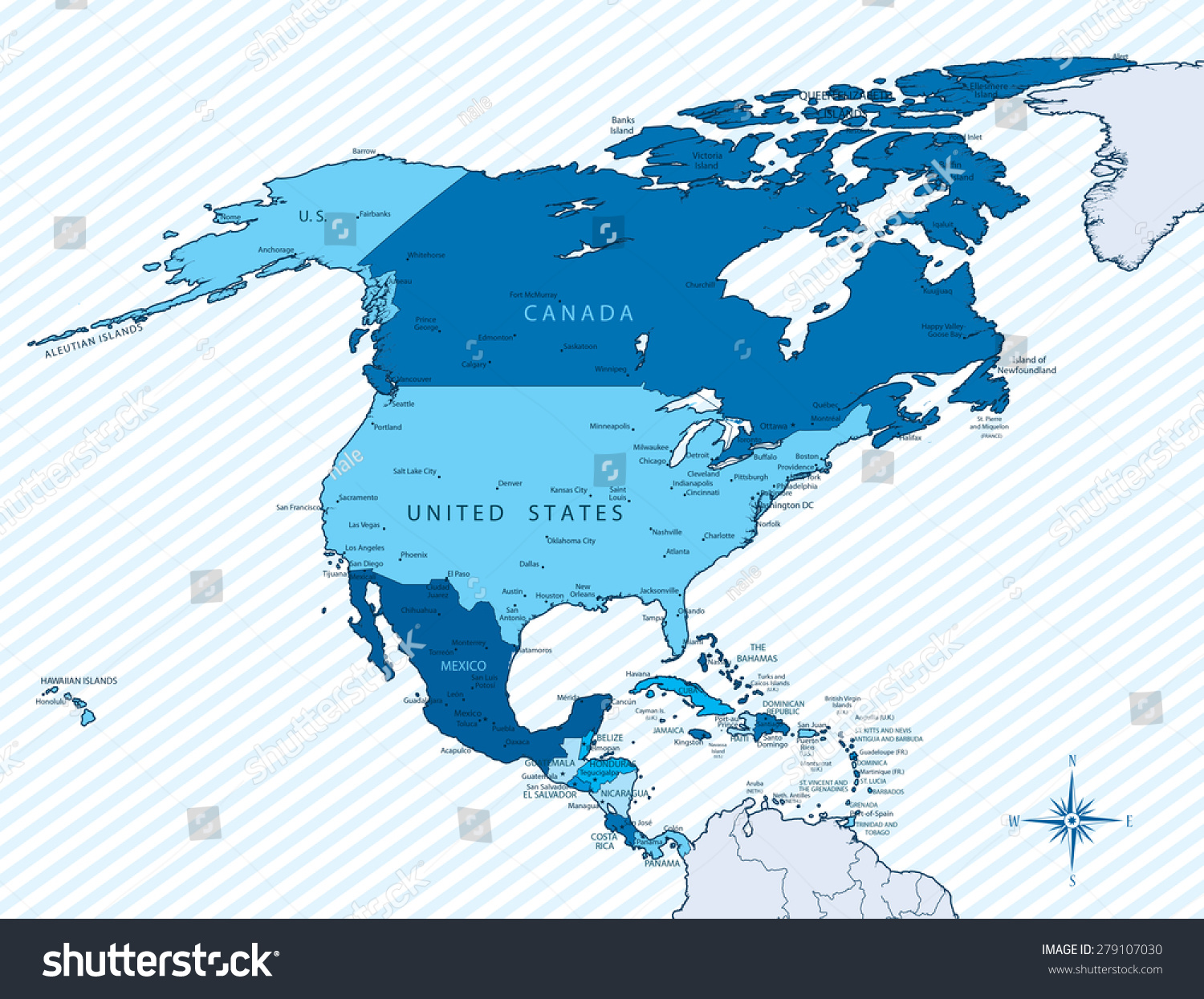 Vector Ilration Of North America Map With Countries In Blue Color Each Country Has Its