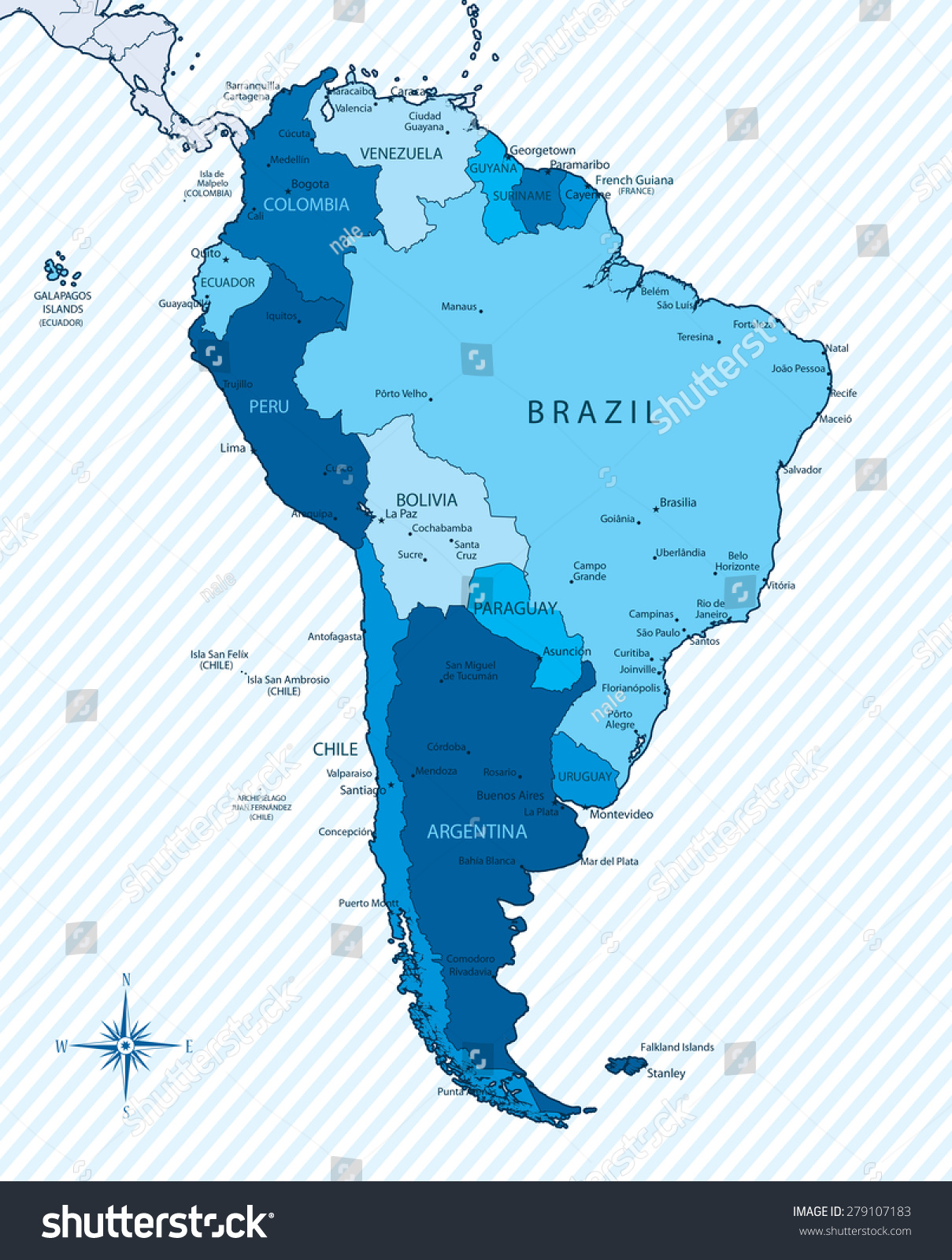 Vector Ilration Of South America Map With Countries In Blue Color Each Country Has Its