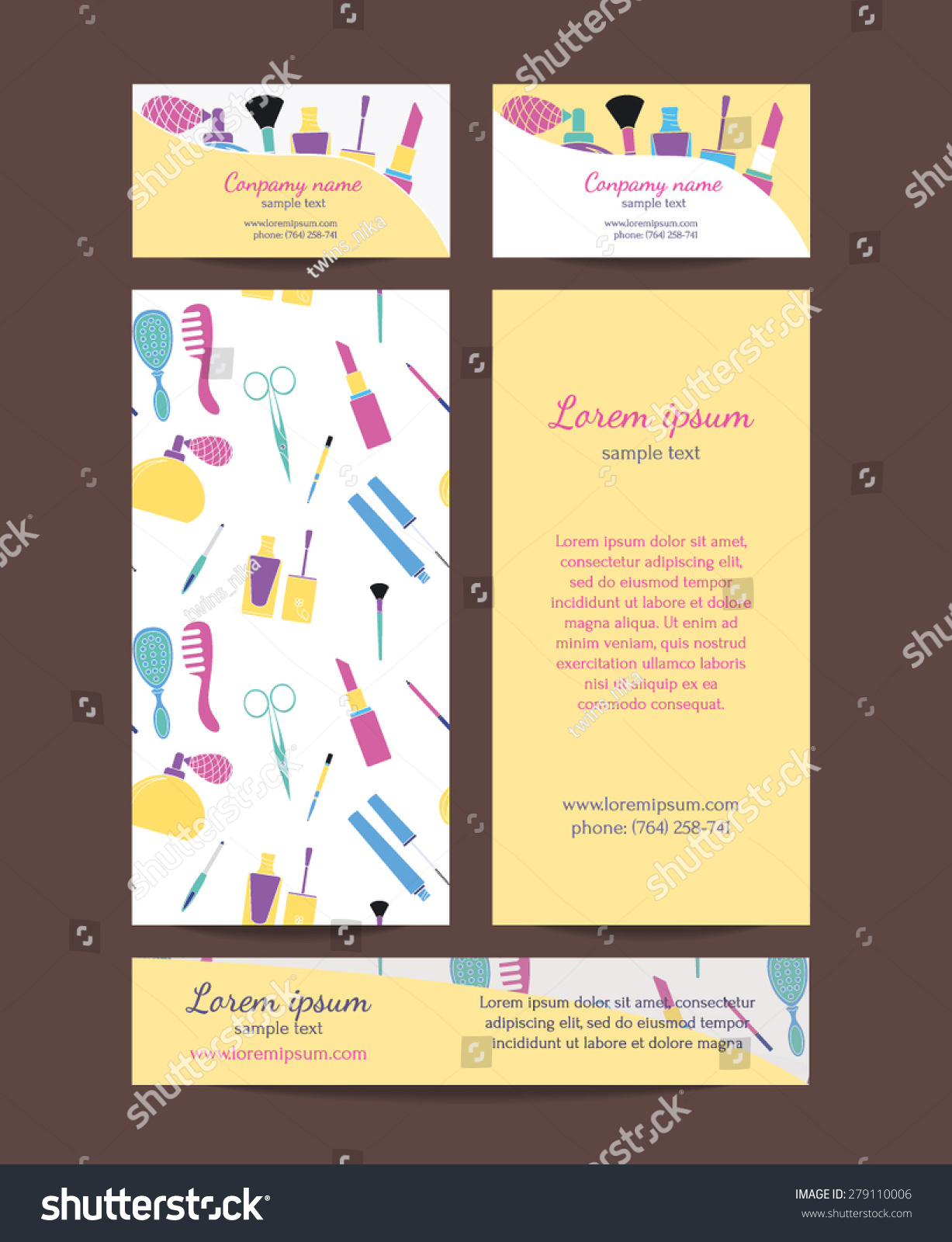 beauty salon brochure business card banners stock vector