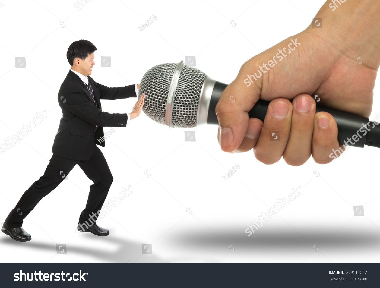 Business Fear Speak Pusk Microphone Back Stock Photo Edit Now 279112097