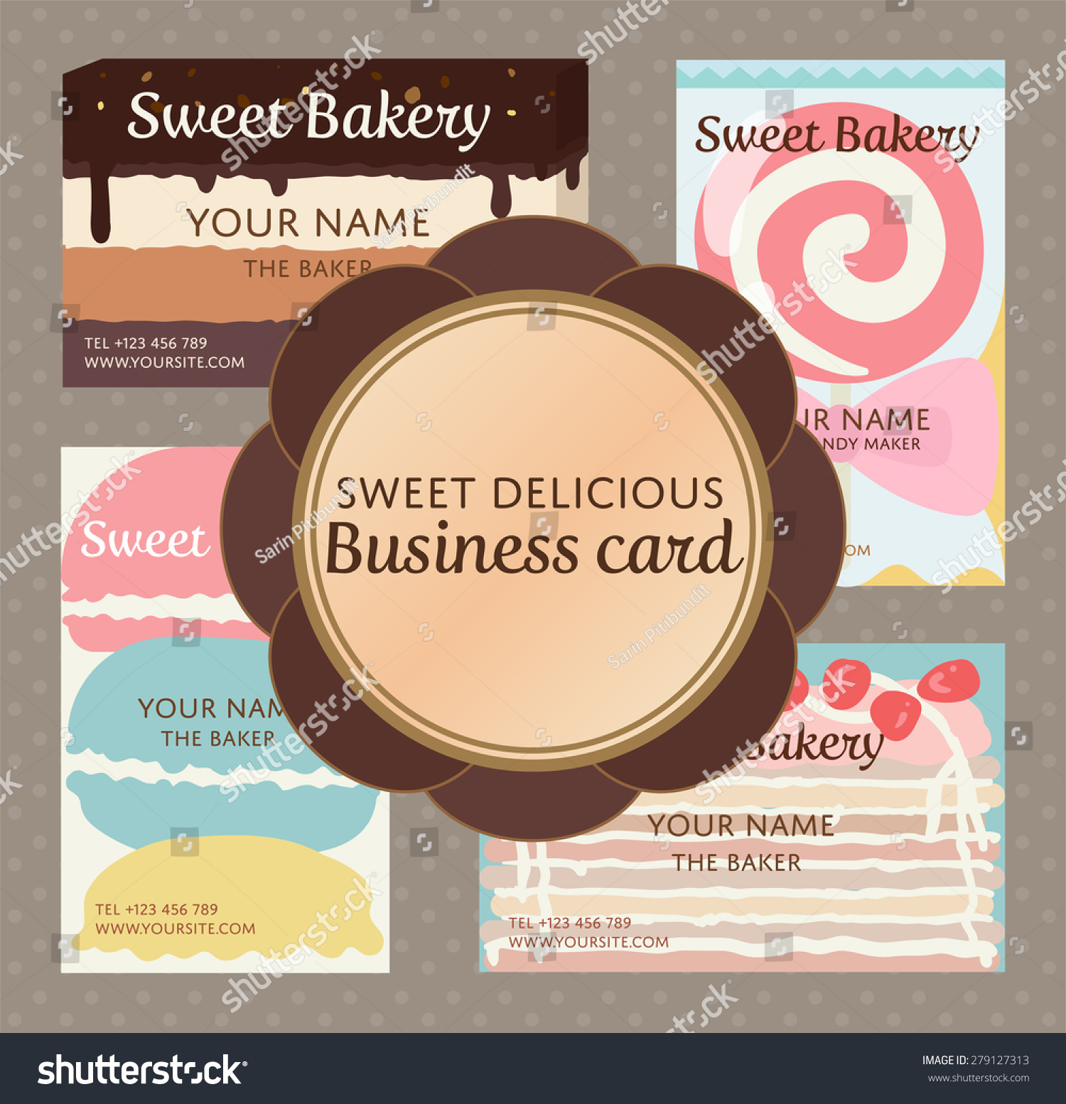 Pop sweet delicious cute bakery confection stock vector 279127313 pop up sweet delicious cute bakery and confection business name card set magicingreecefo Gallery