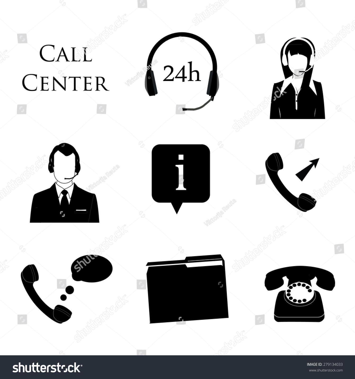 Call Center Icon Set Information Contact Stock Vector