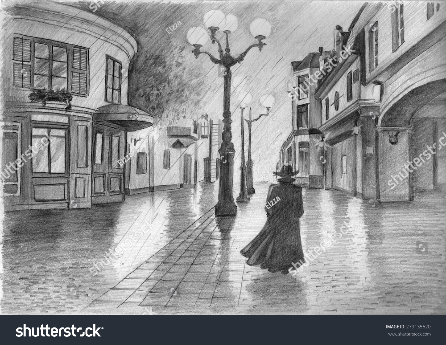 Europe rainy old city street at night pencil sketch illustration