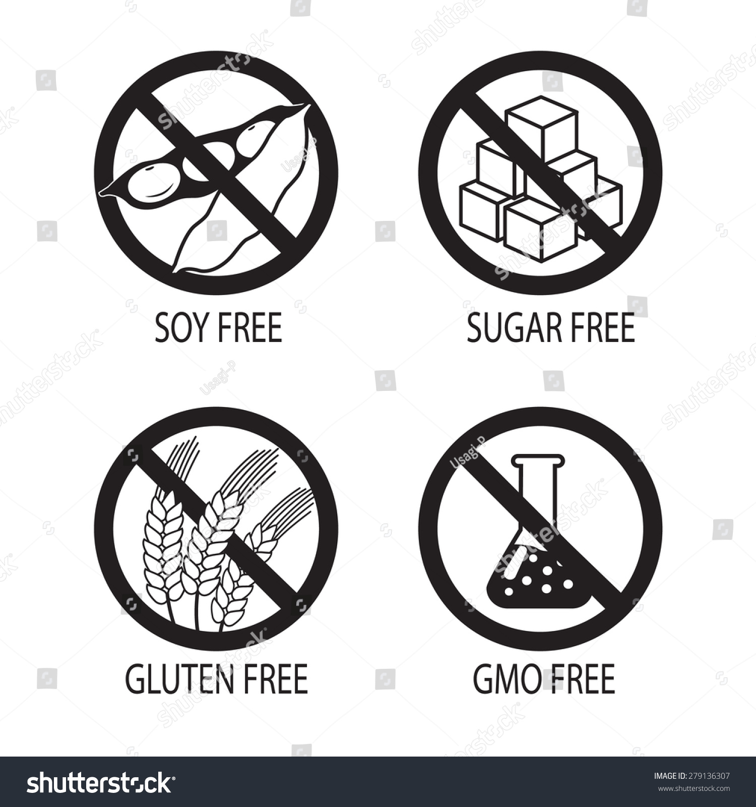 Healthy Food Symbols Gluten Free Sugar Stock Vector Royalty Free