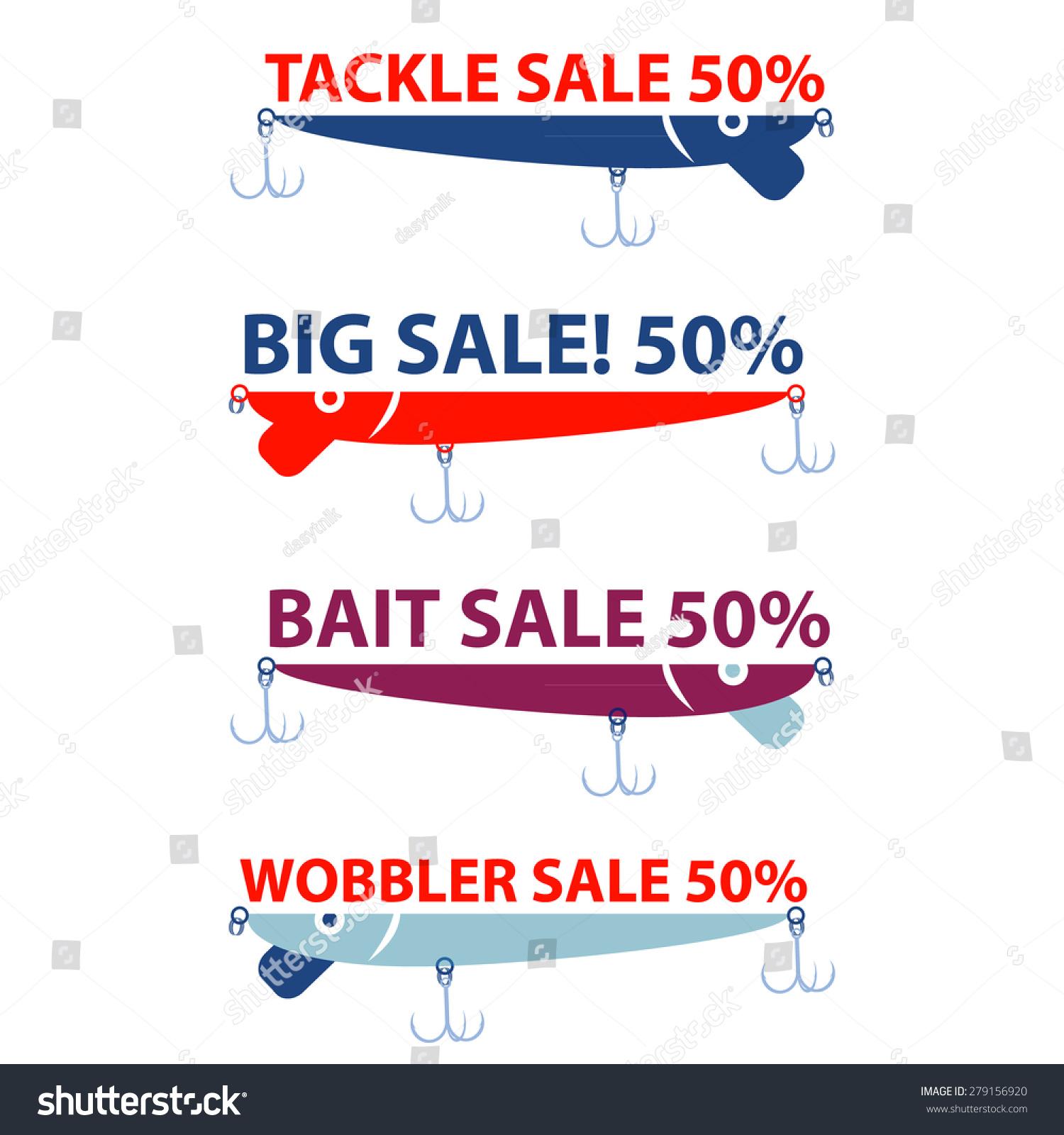 Vector design concepts bait wobbler sale stock vector for Fishing bait stores near me