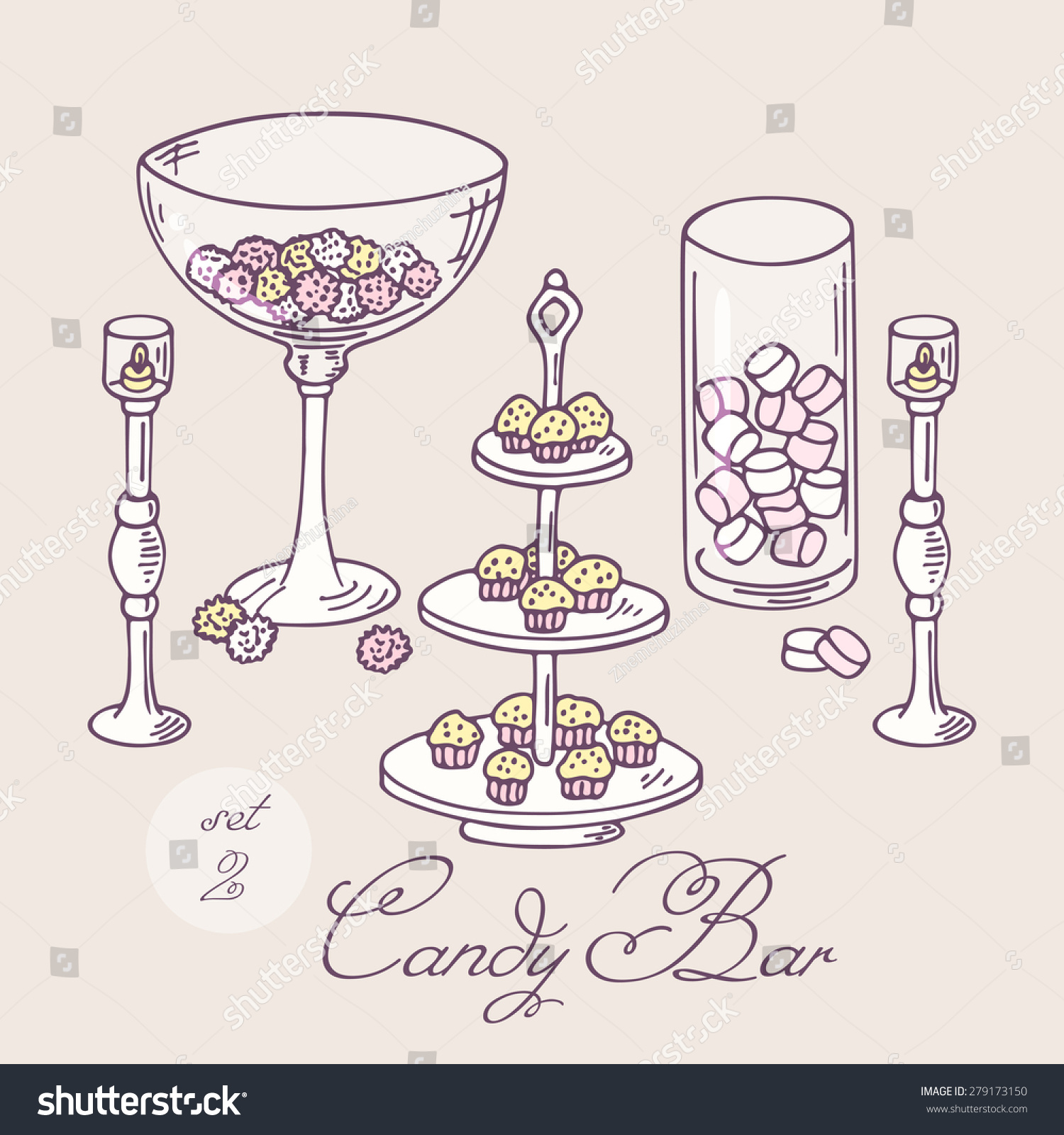 collection hand drawn candy bar objects stock vector