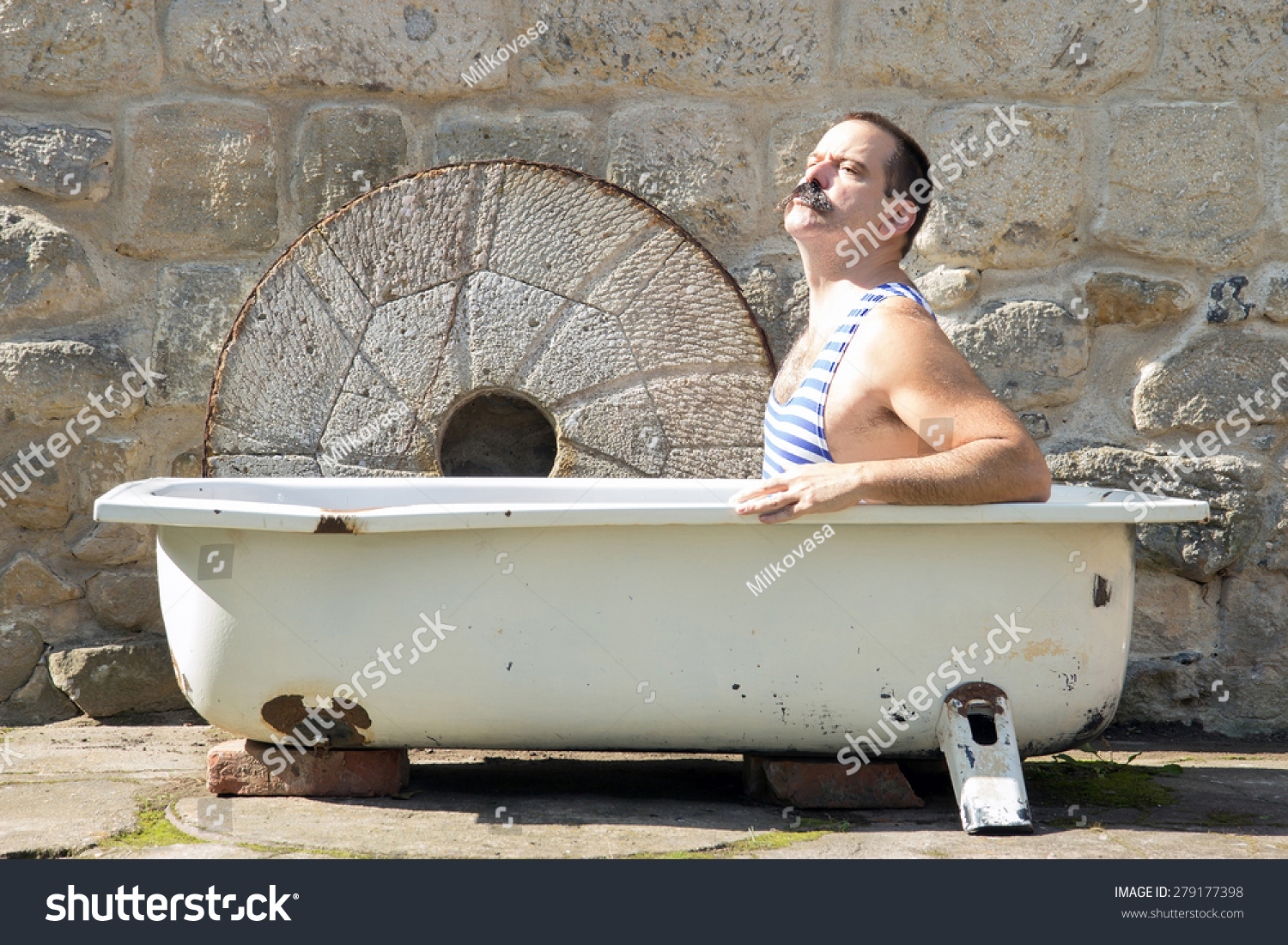 Man Retro Swimsuit Resting Old Outdoor Stock Photo (Edit Now ...