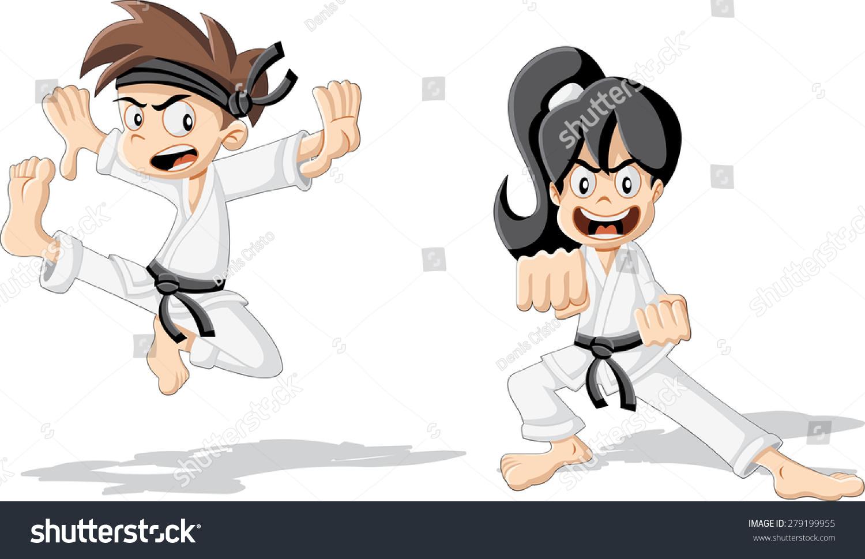Cartoon Karate Kids Wearing Kimono Training Stock Vector 279199955 ...