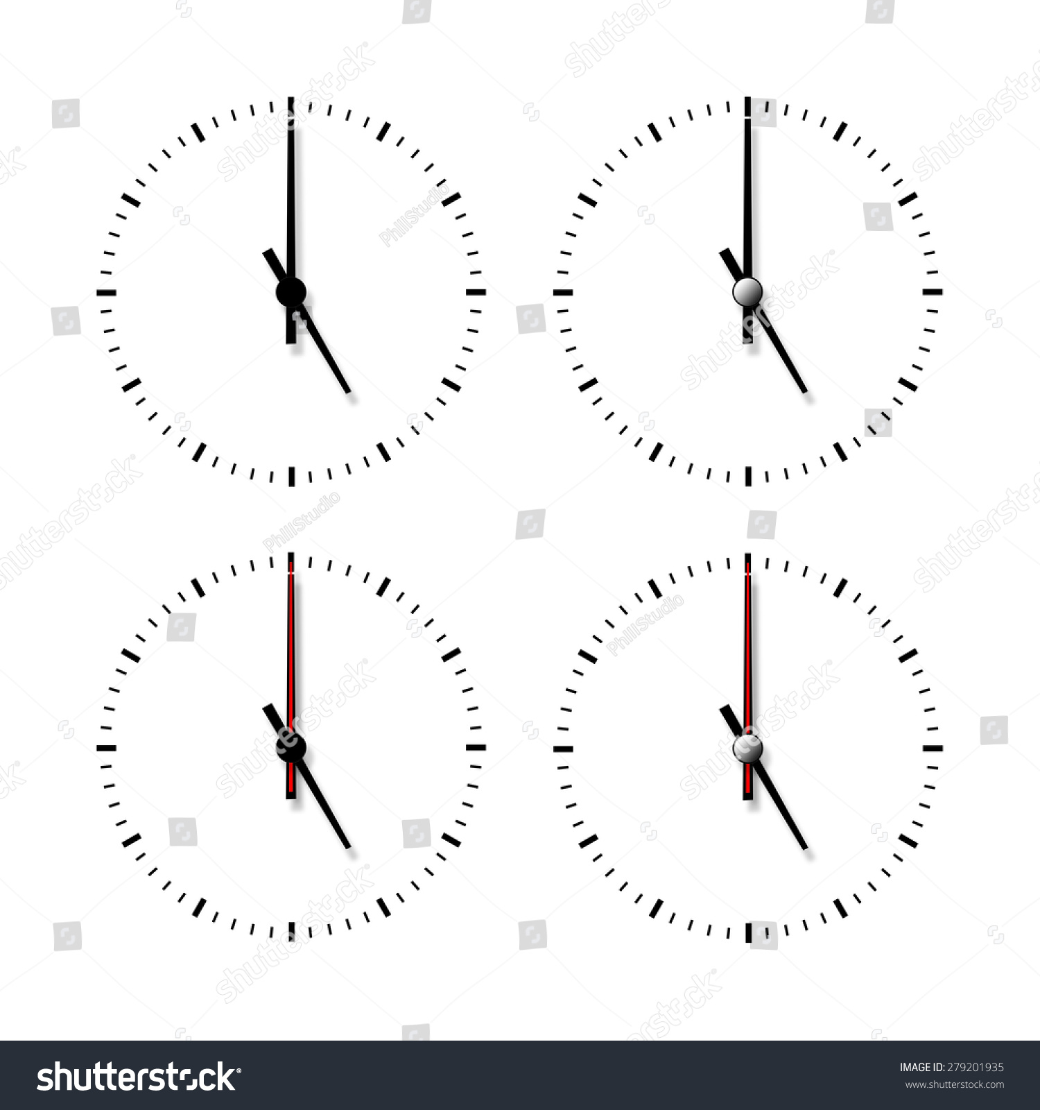 worksheet Number Line Without Numbers set clocks without numbers isolated on stock illustration of white background