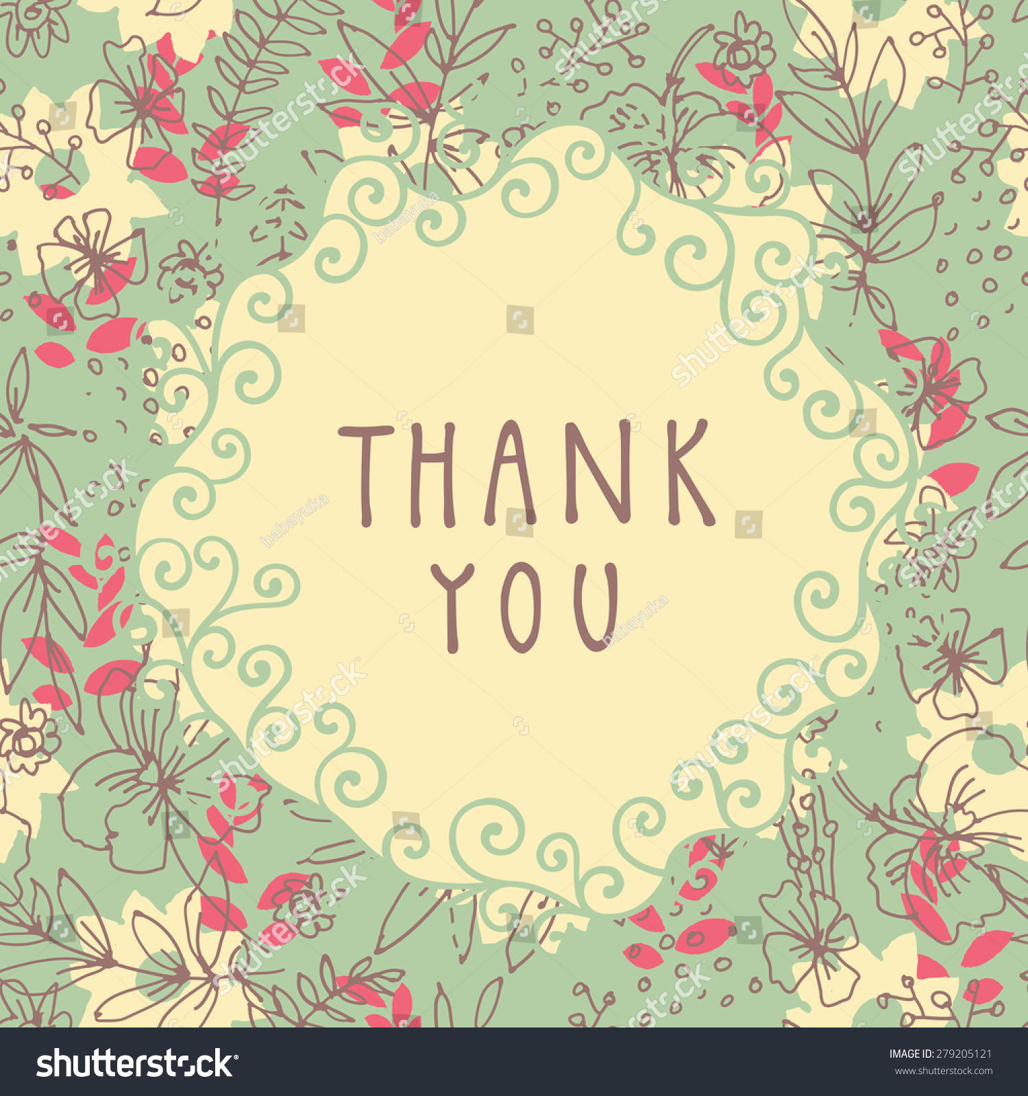 Thank You Shabby Chic Handdrawn Greeting Stock Vector Royalty Free