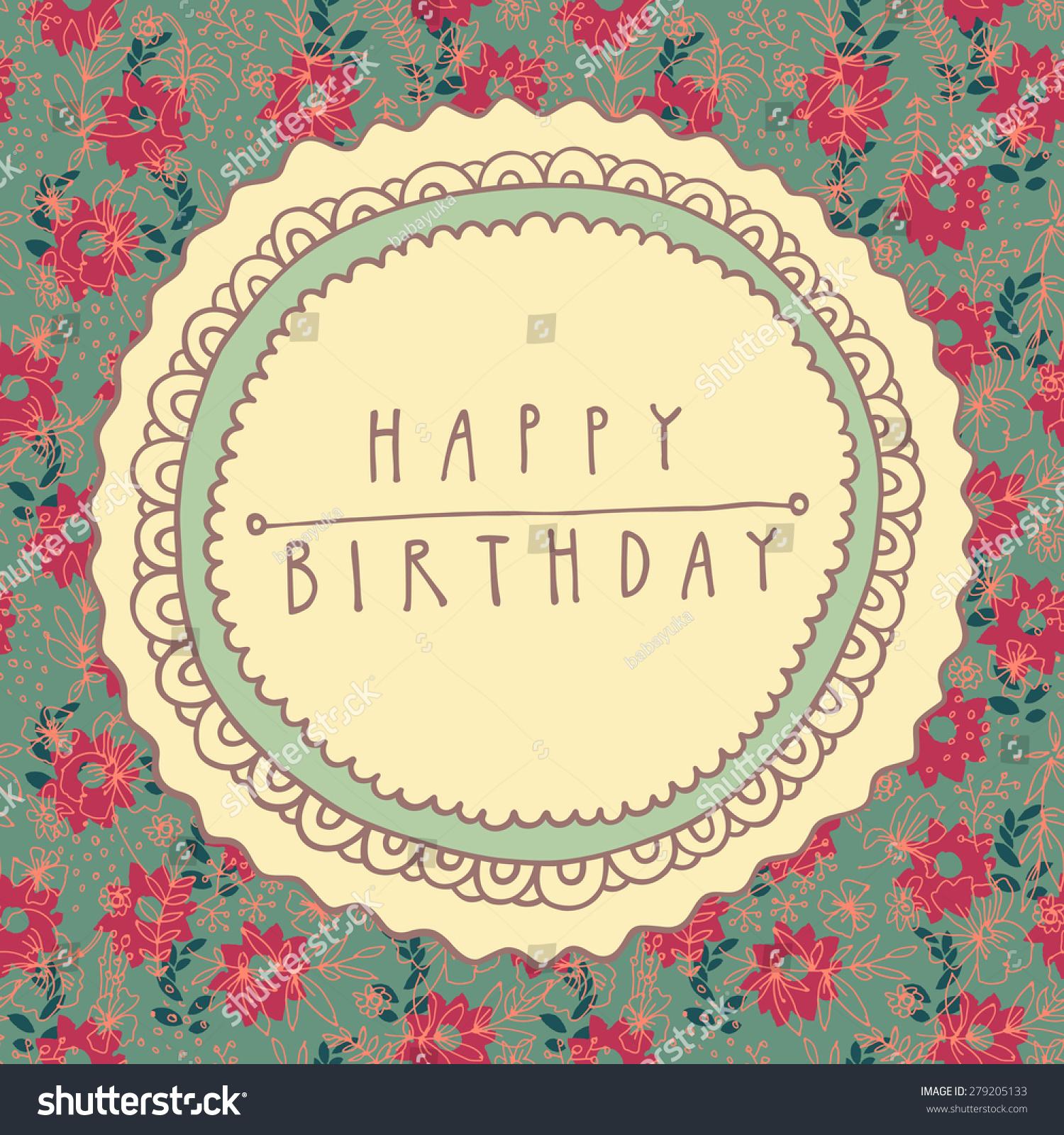 Colorful Happy Birthday Shabby Chic Handdrawn Stock Vector ...