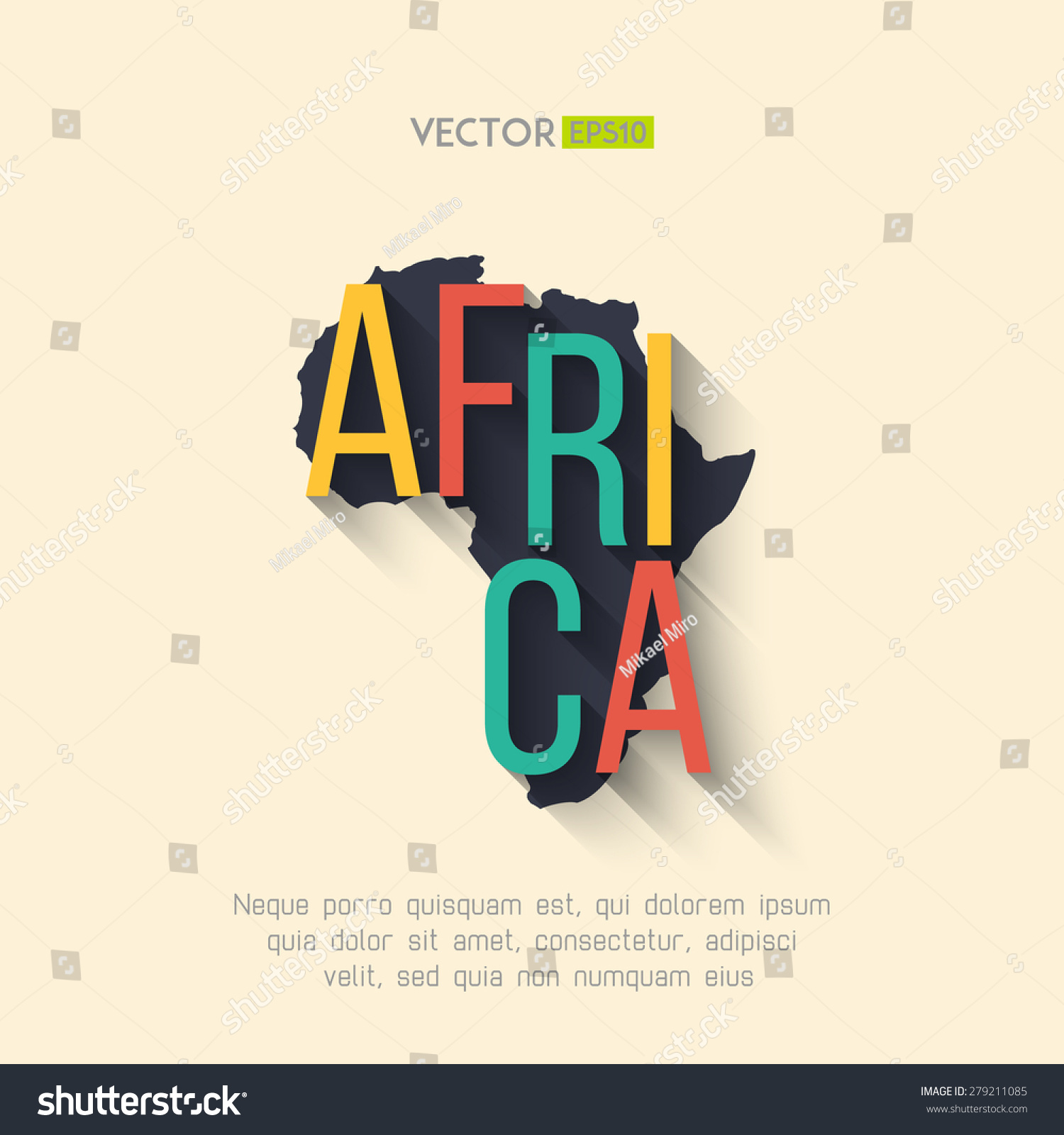 Africa Map Background.Vector Africa Map Flat Design Africa Stock Vector Royalty Free