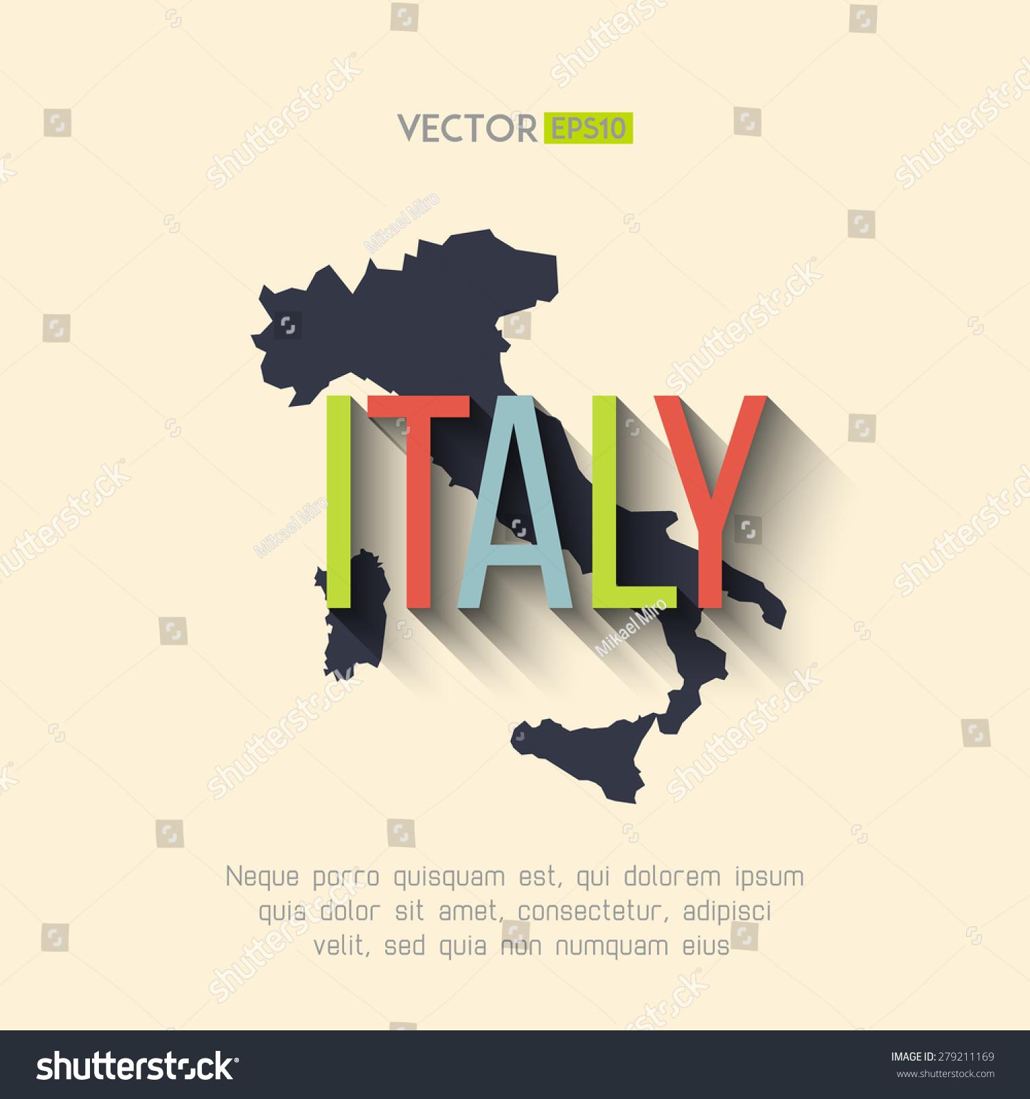 Vector Italy Map Flat Design Italian Stock Vector 279211169