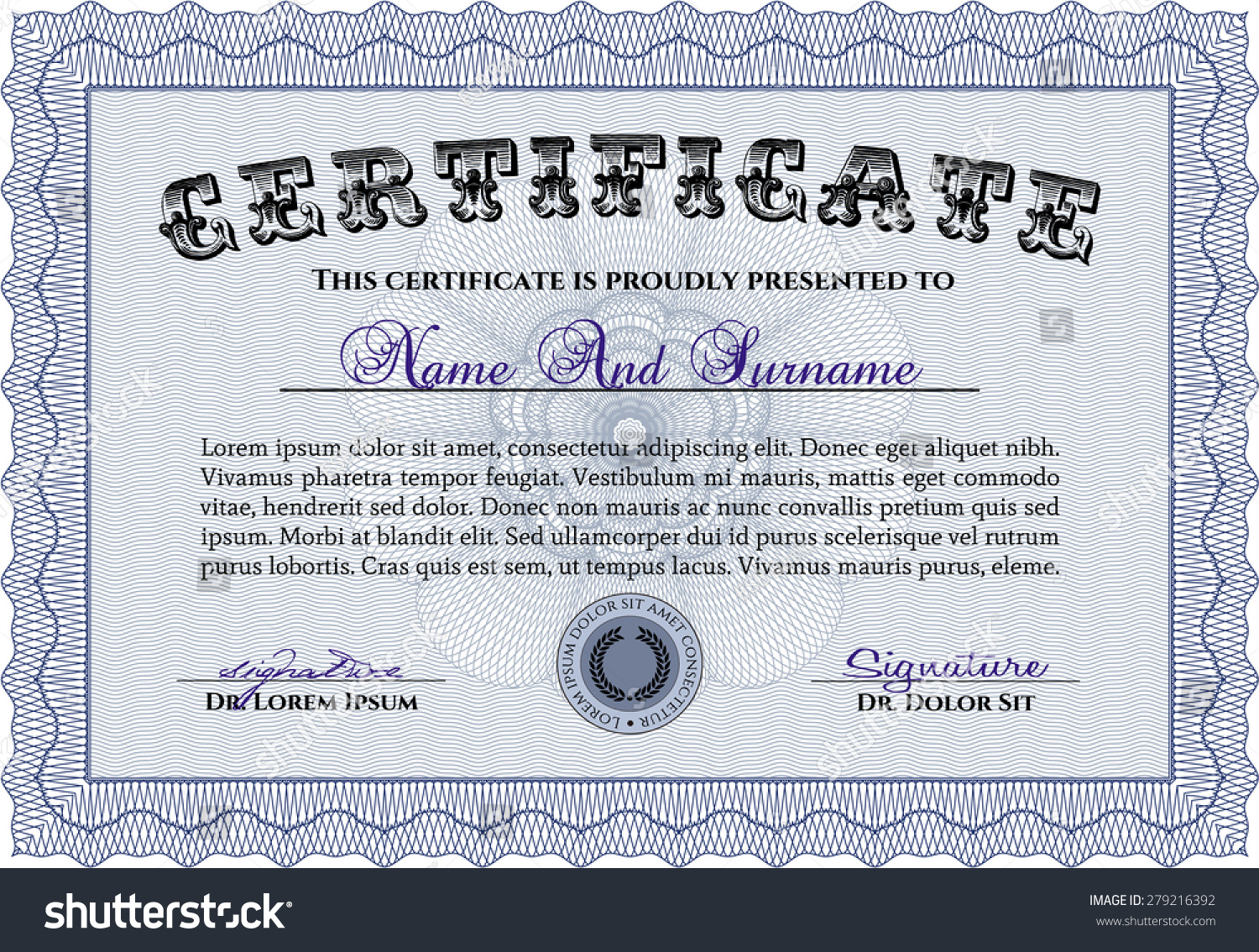 Certificate template diploma template customizable easy stock certificate template diploma template customizable easy stock vector 279216392 shutterstock yelopaper Images