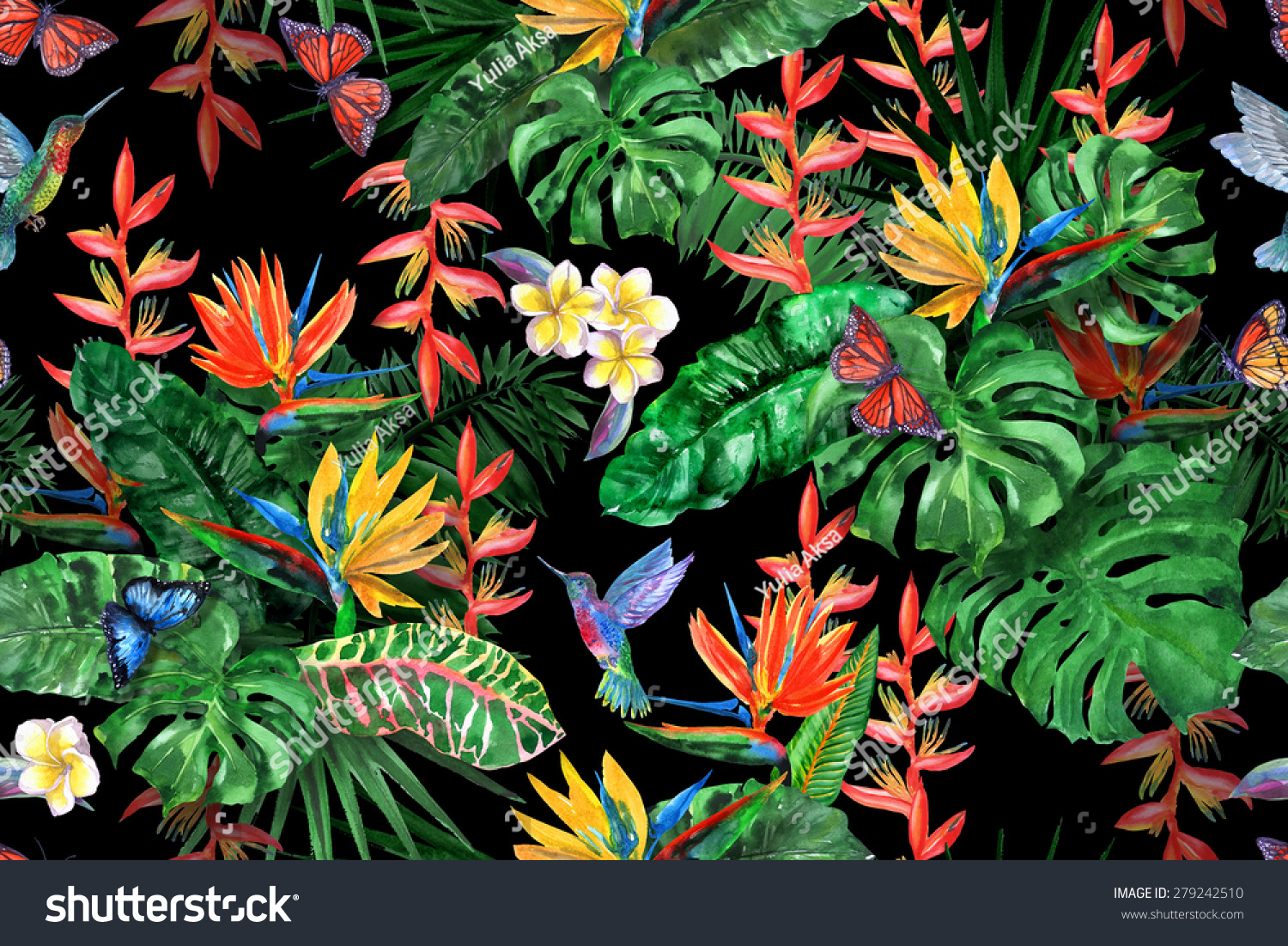 gorgeous tropical plants seamless pattern on stock