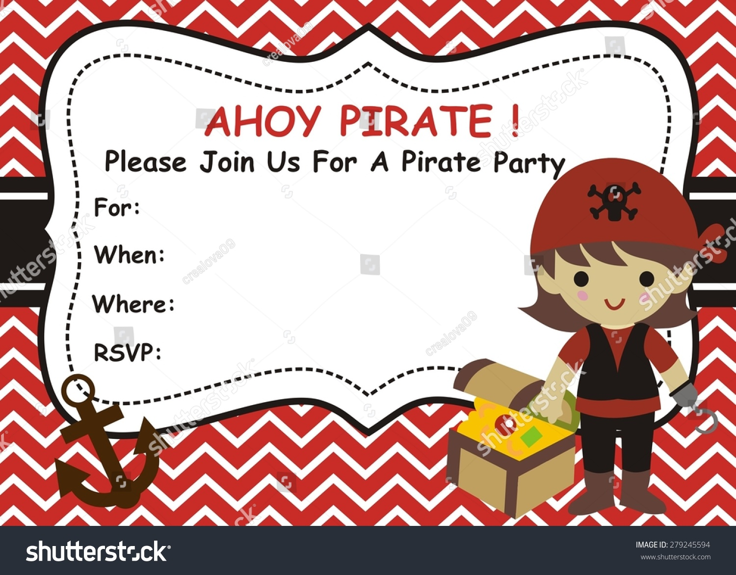 Pirate Girl Birthday Invitation Stock Vector (Royalty Free ...