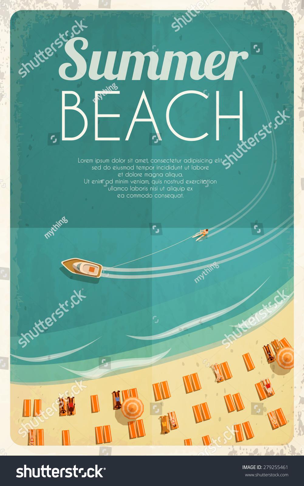 Summer Retro Beach Background Beach Chairs Stock Vector ...