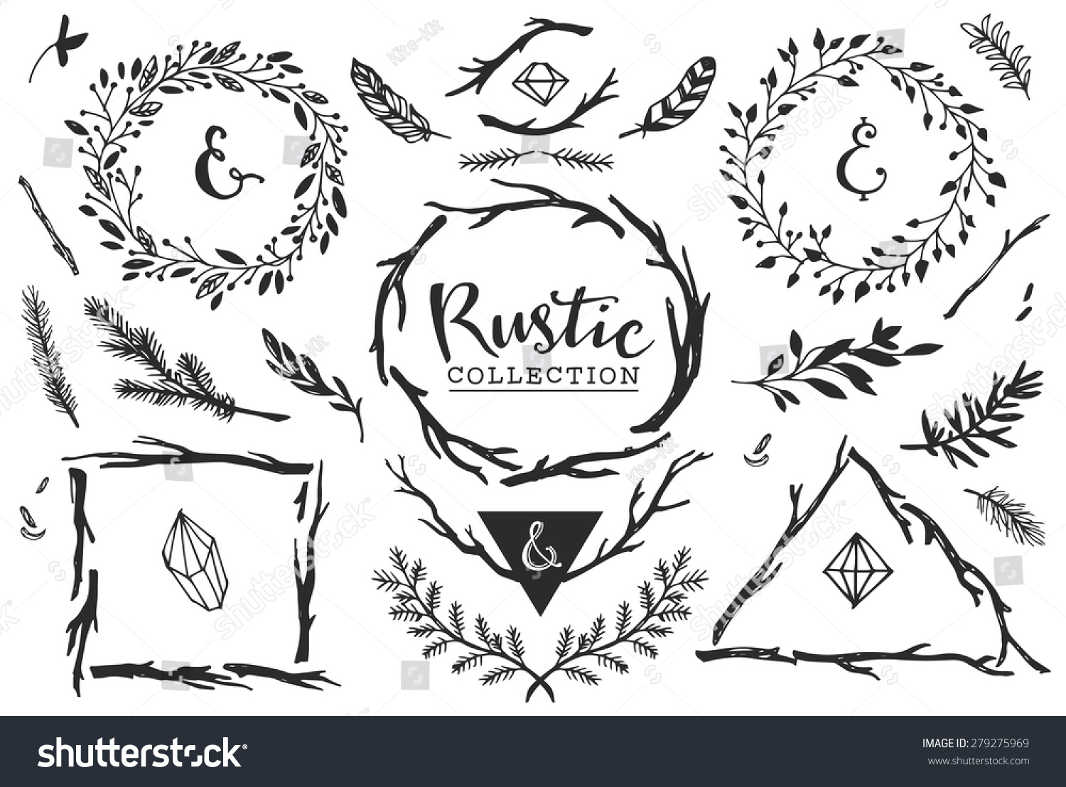 rustic decorative elements with lettering hand drawn vintage vector design set
