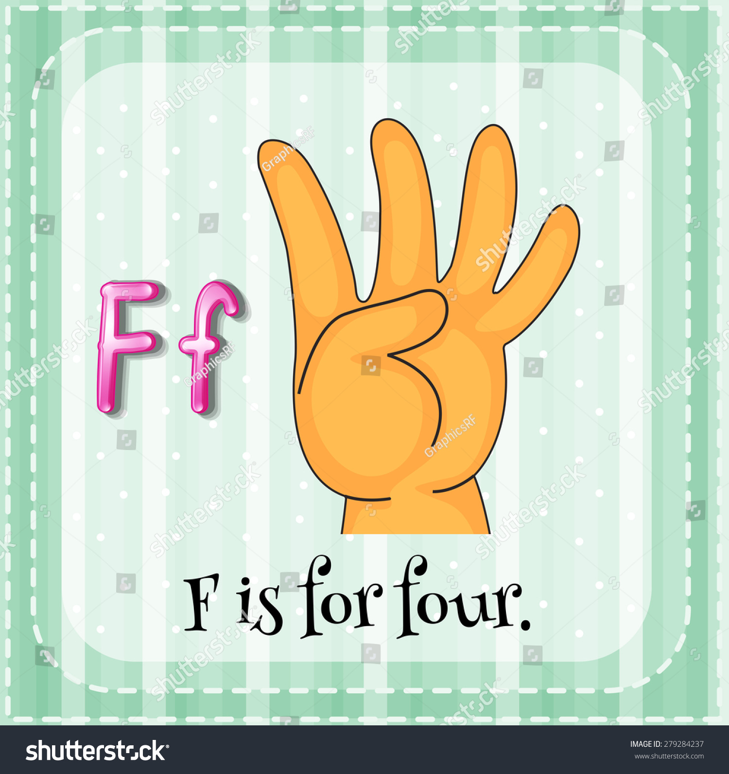letter f flashcard flashcard letter f four stock vector 279284237 505