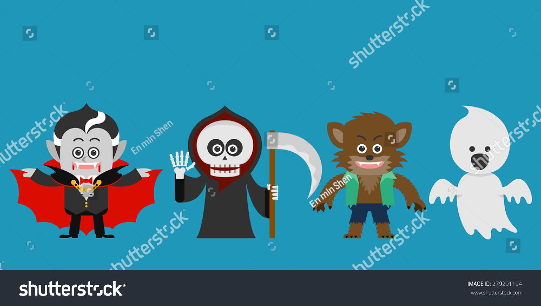 Halloween Character Design Challenge : Halloween character set party costume flat