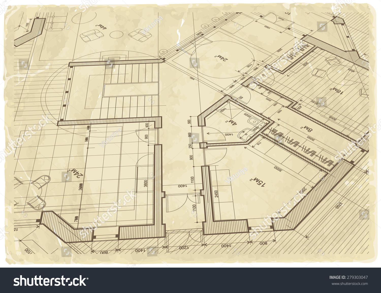 Architecture blueprint house plan old paper stock illustration architecture blueprint house plan old paper stock illustration 279303047 shutterstock malvernweather Image collections