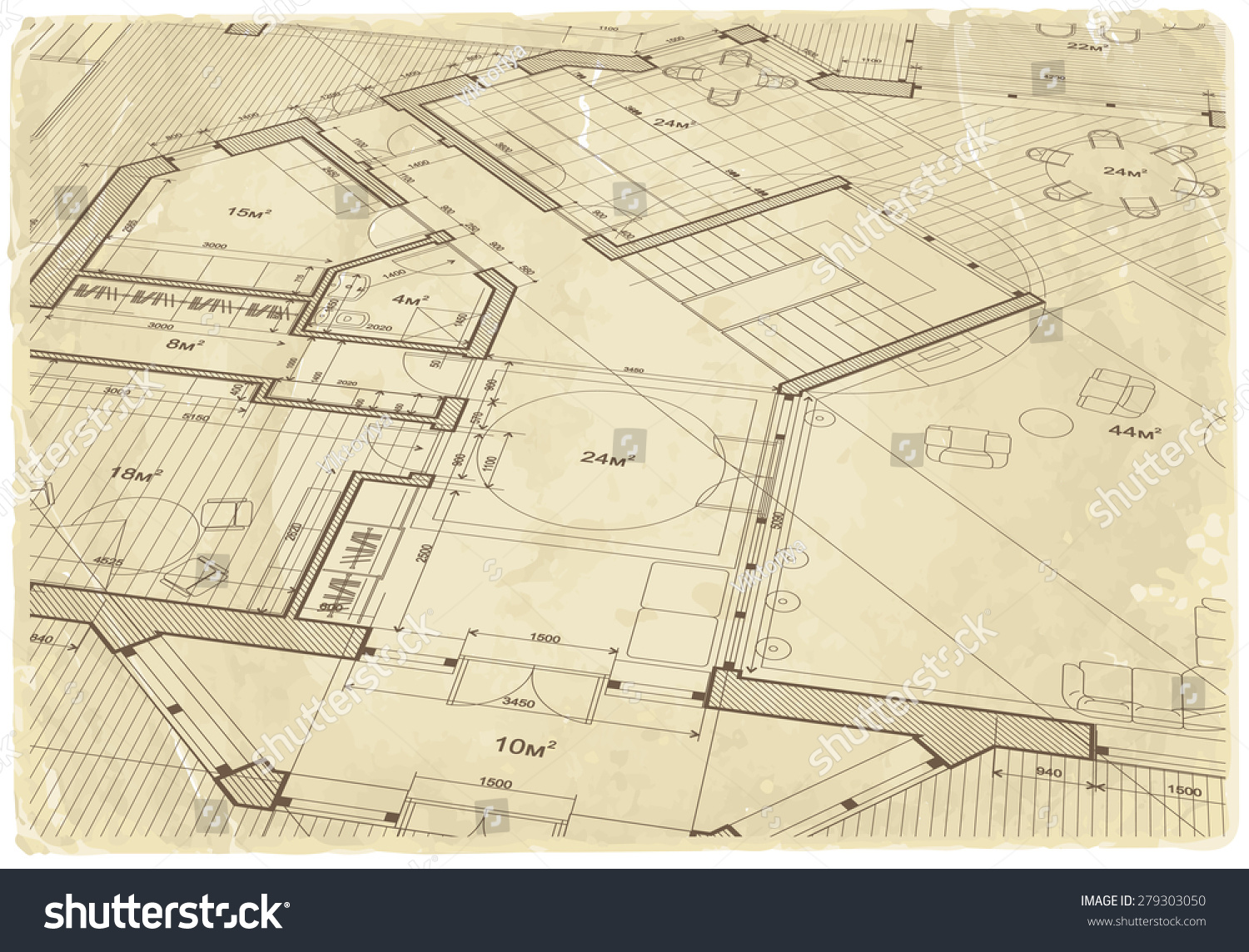 Architecture blueprint house plan old paper stock illustration architecture blueprint house plan old paper background malvernweather Choice Image