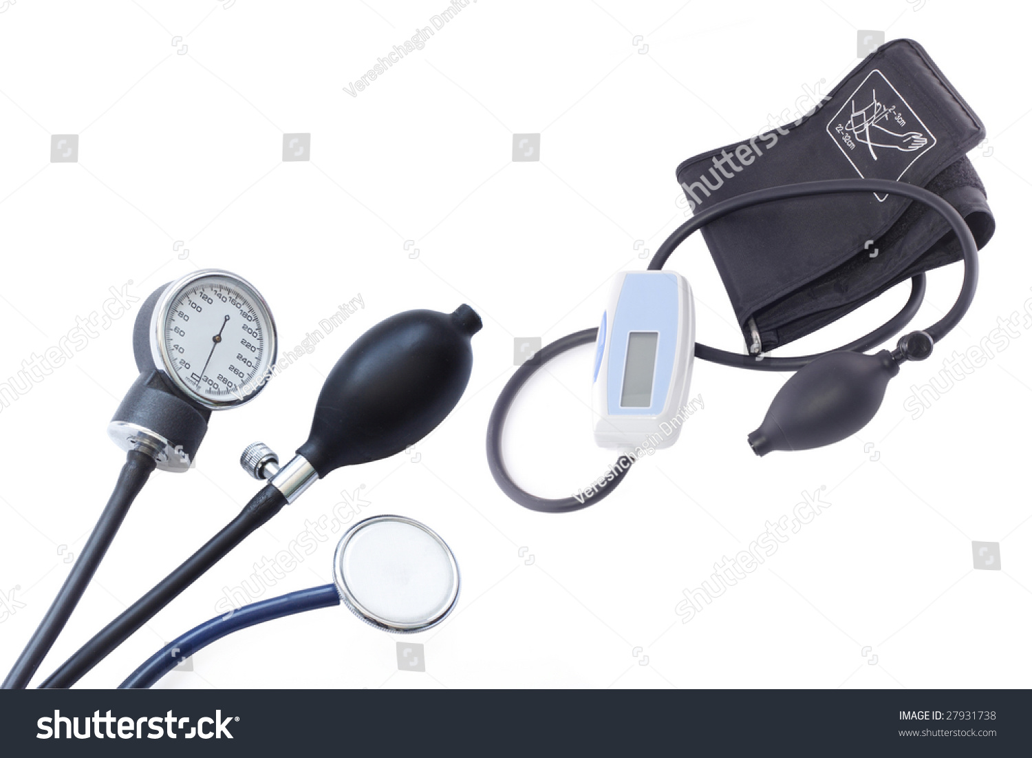 Pressure Measuring Instruments : Different blood pressure measuring instruments under the