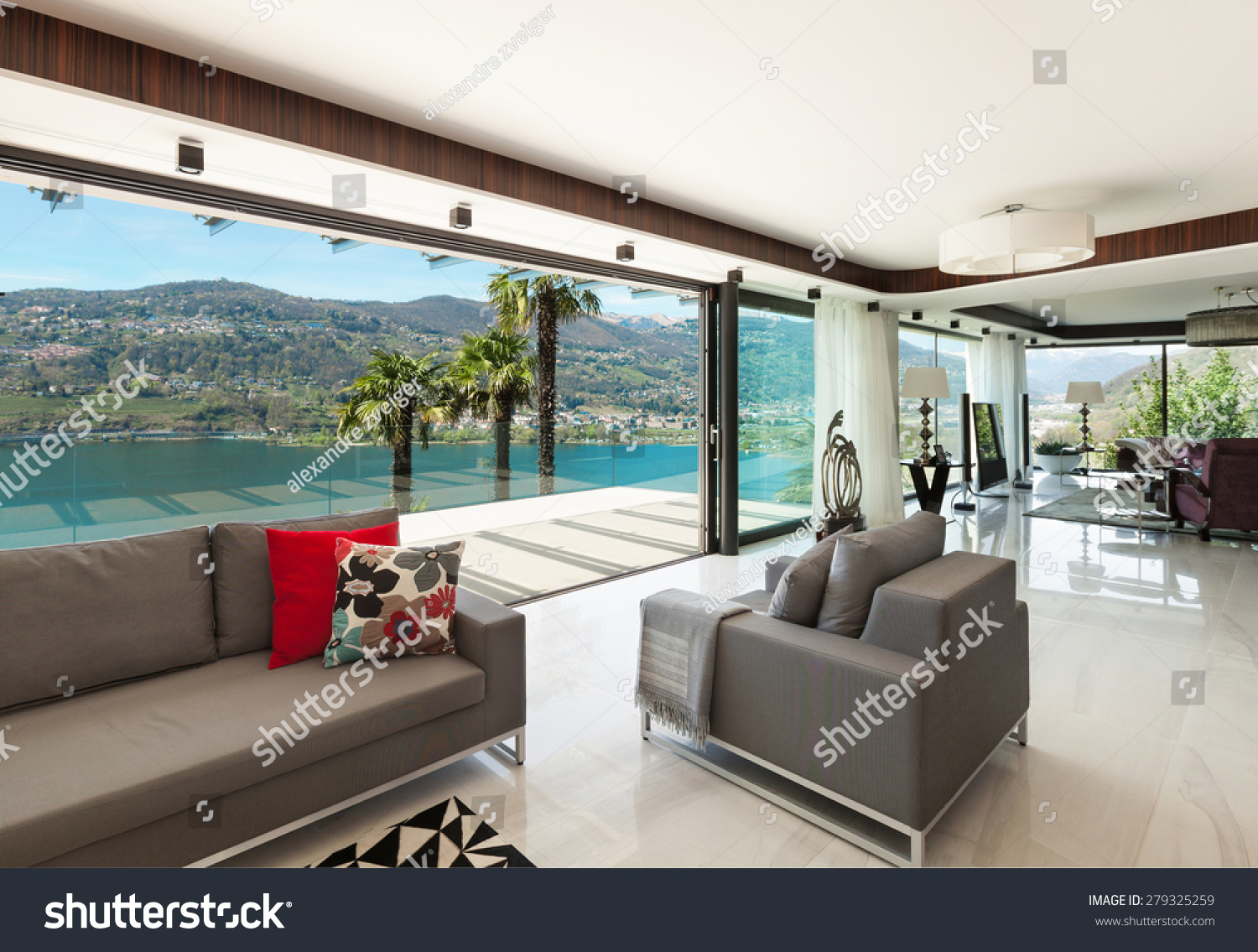 Architecture Modern House Beautiful Veranda Overlooking Stock