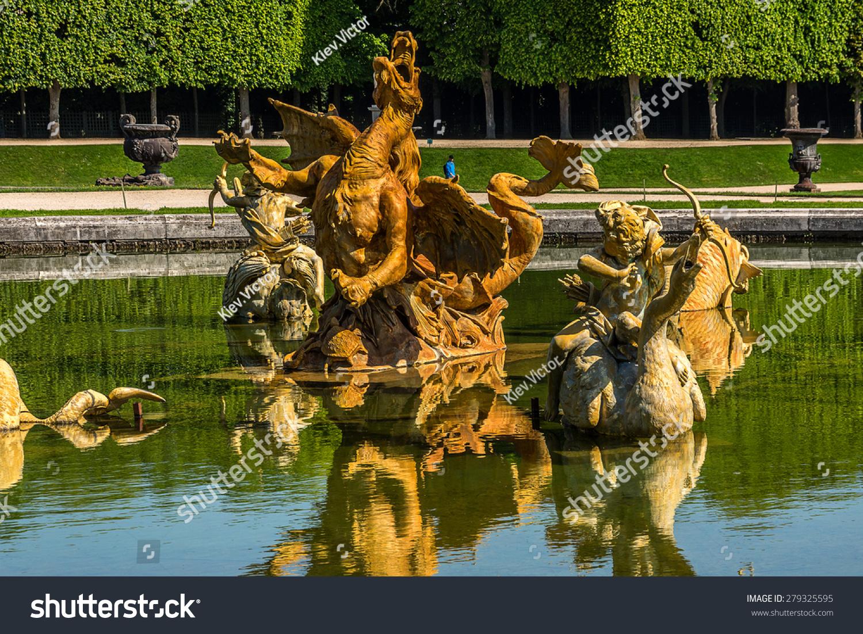 Fountain Beautiful Gardens Famous Versailles Palace Stock Photo ...