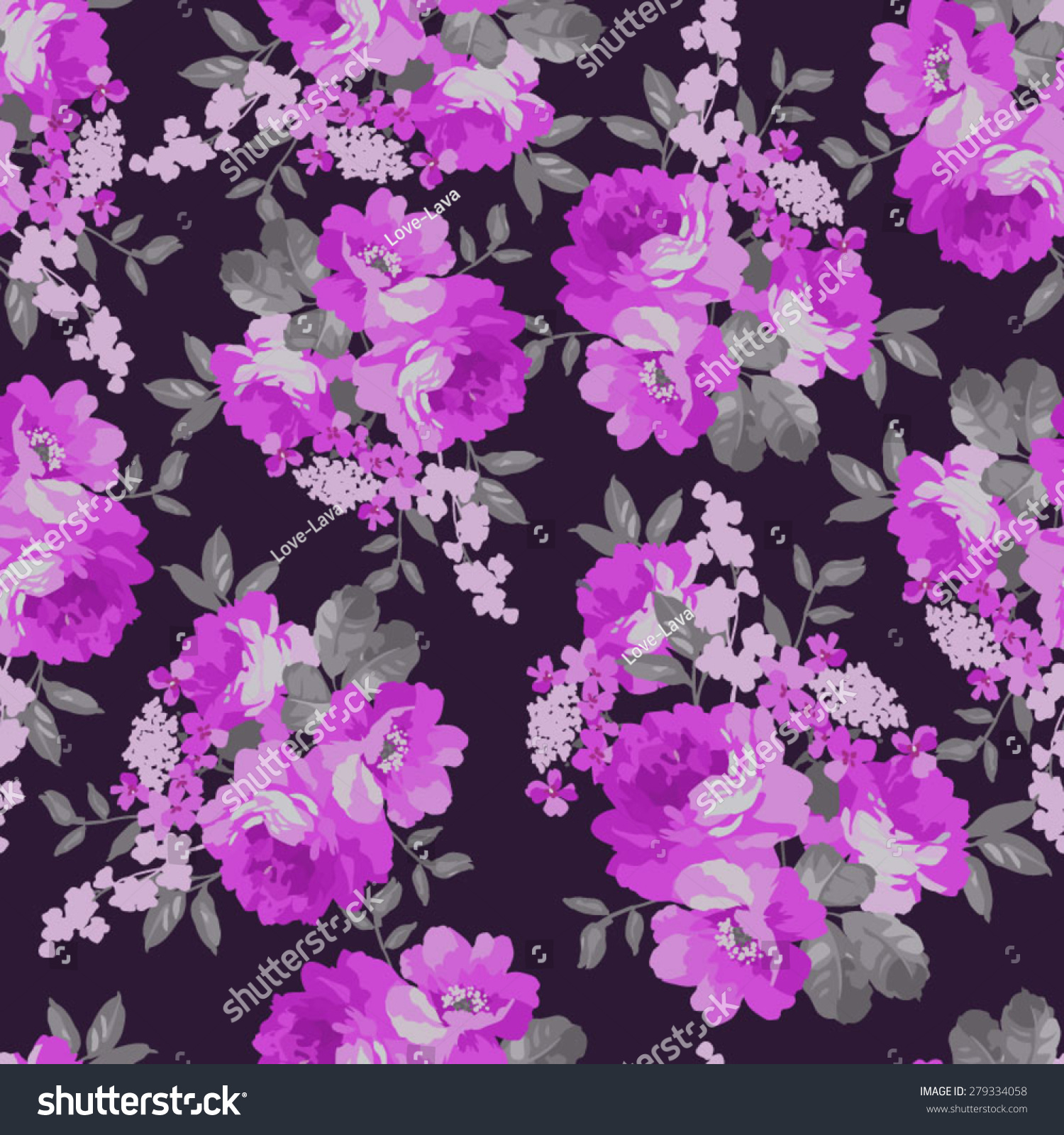 Seamless Floral Pattern Pink Roses On Stock Vector Royalty Free