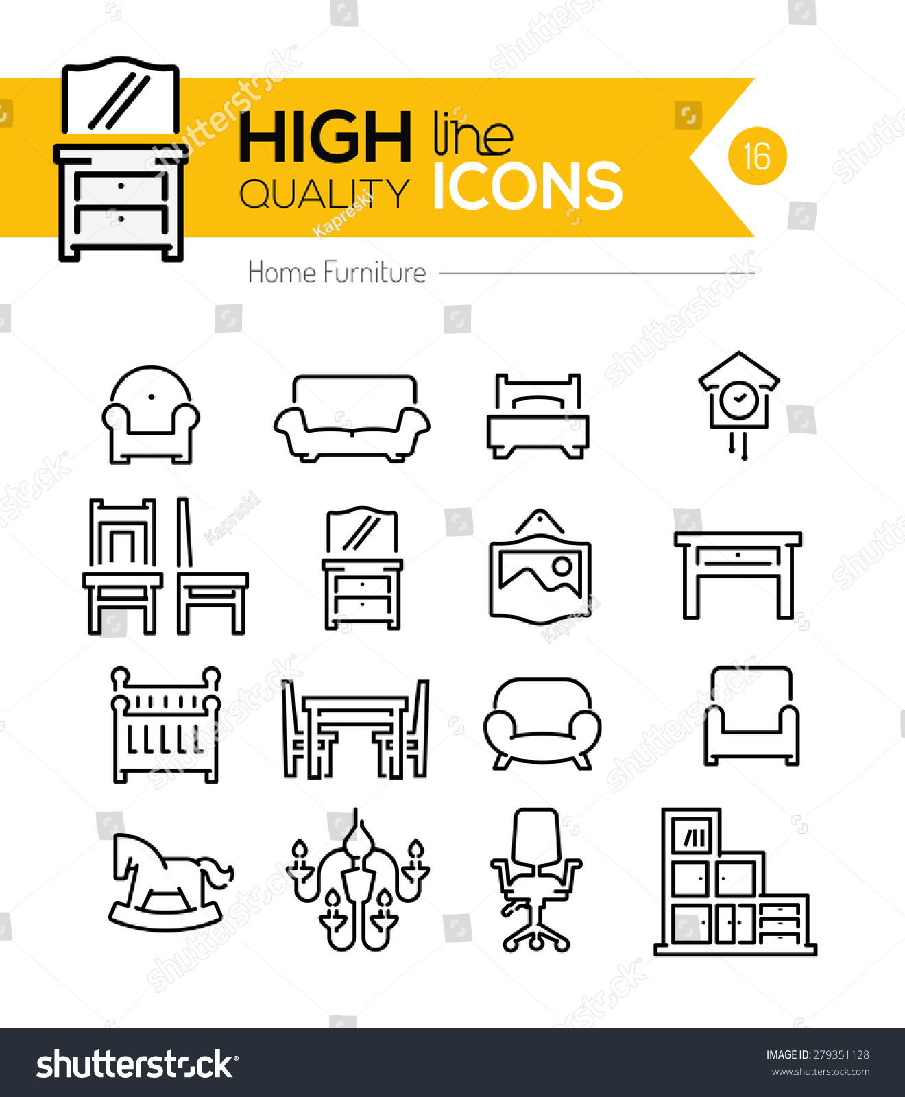 High Quality Home Furniture Line Icons Stock Vector Illustration 279351128 Shutterstock