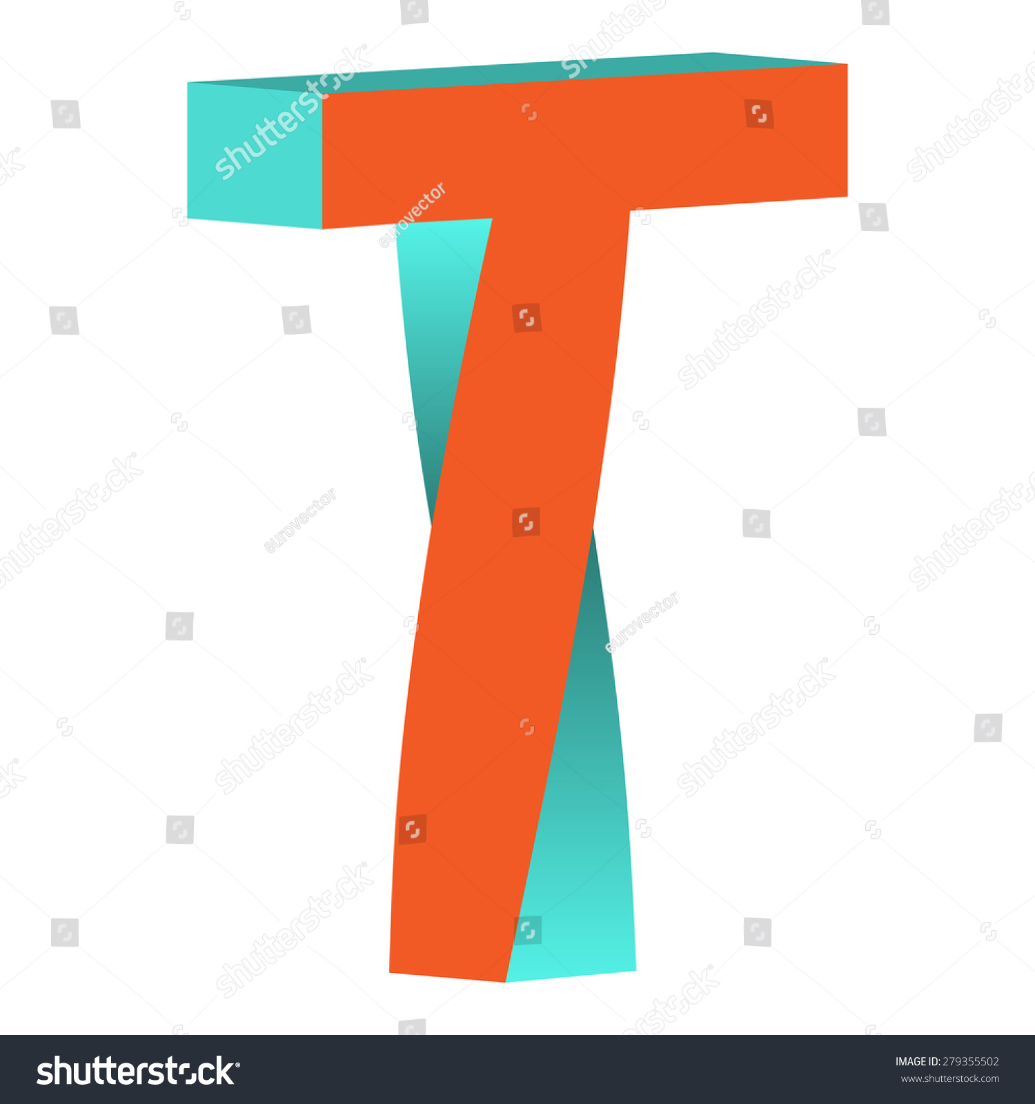 Twisted impossible letter t logo icon stock vector for Letter t decoration