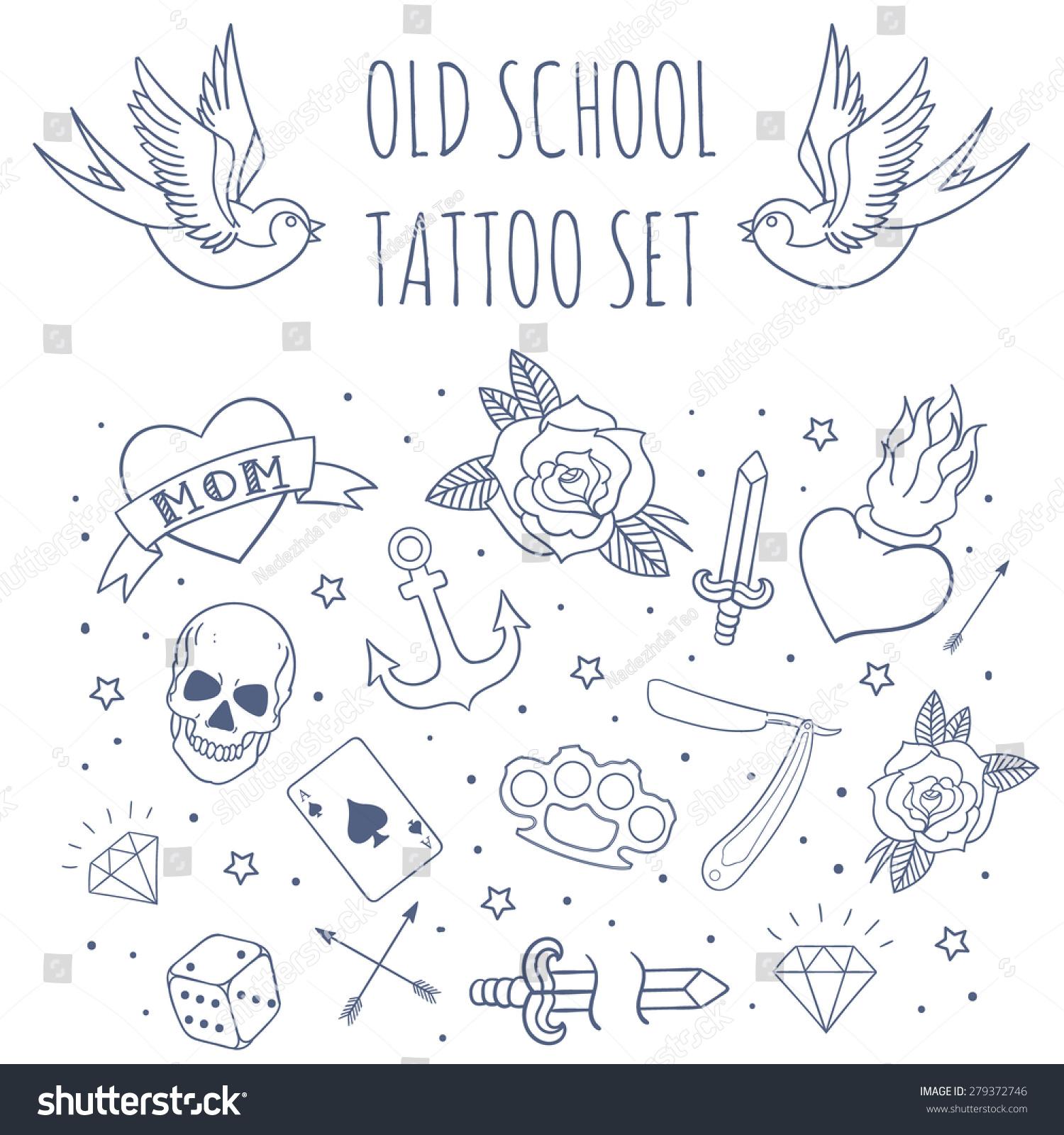 89f1417fe62a9 Old school tattoo set. Cartoon vector tattoo doodle elements: anchor,  dagger, skull.