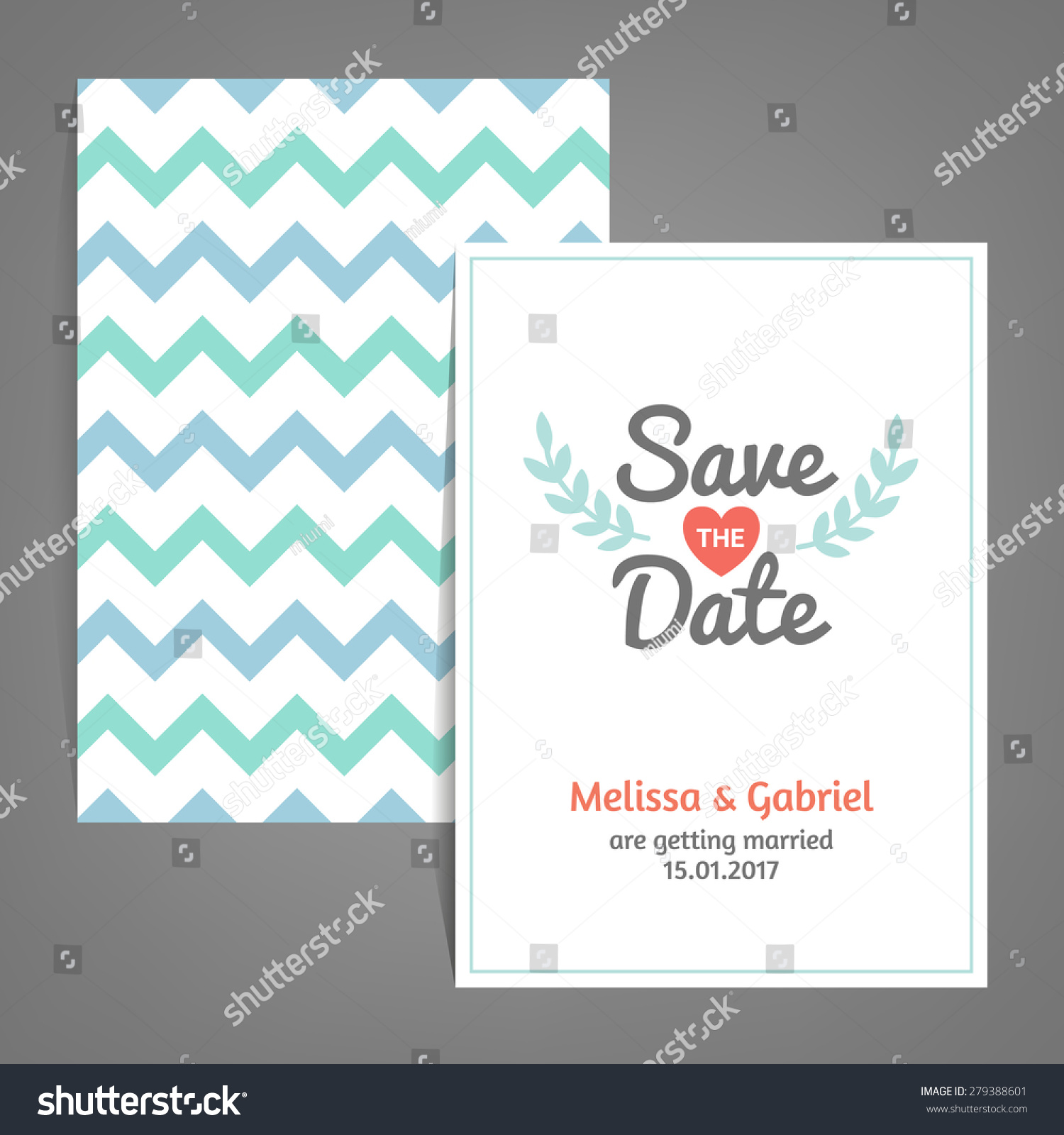 Double sided Save the Date card with Chevron background, heart and ...