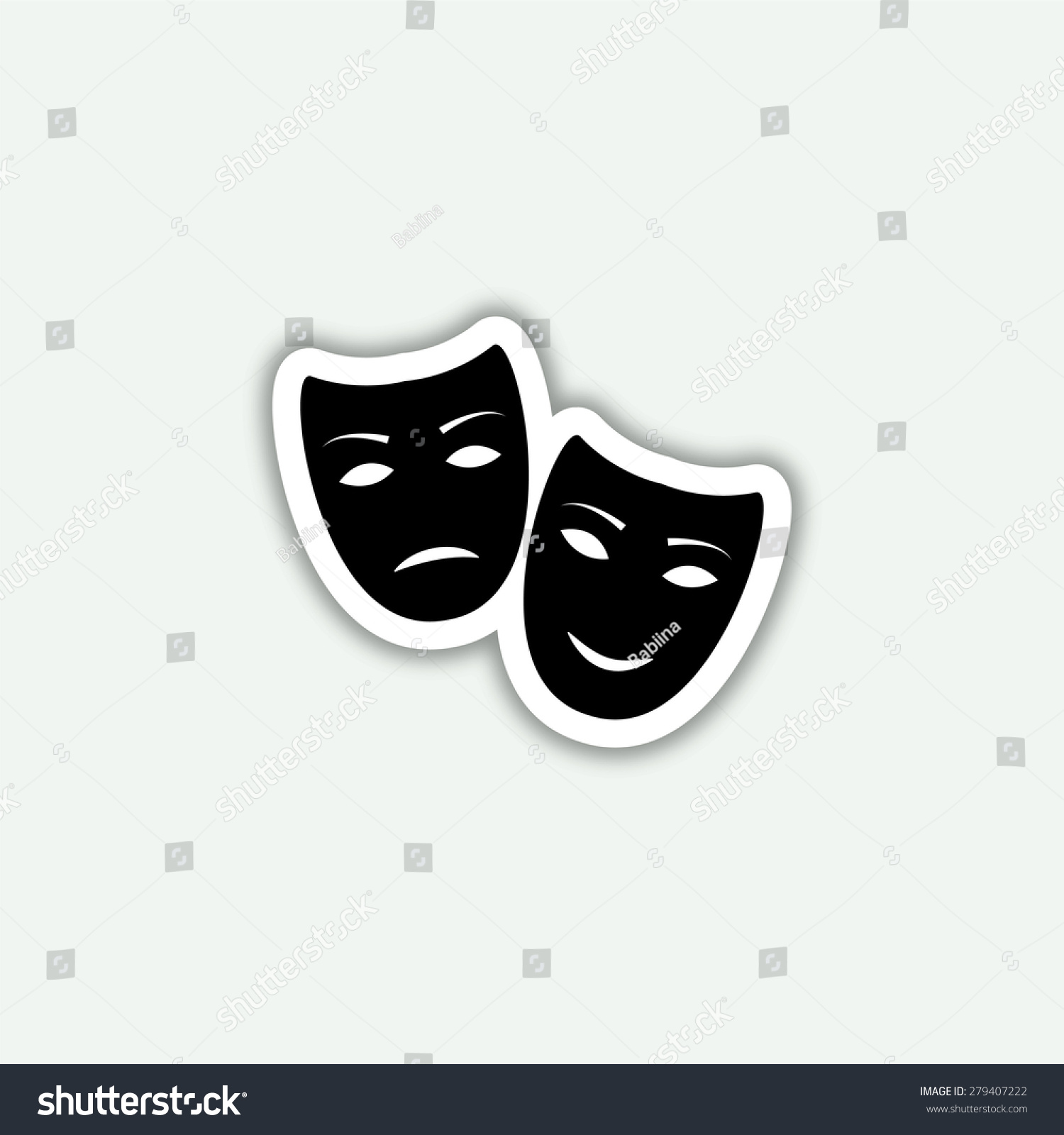 Tragedy and comedy masks icon vector sticker