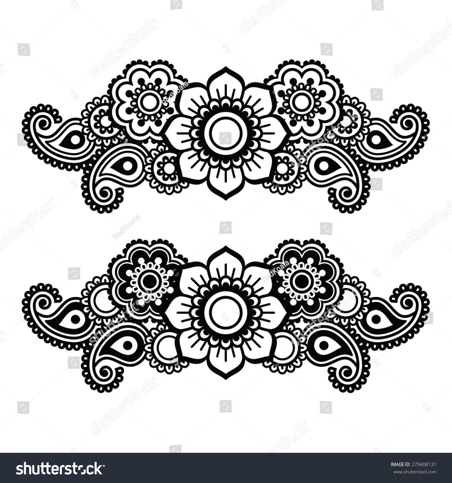 Henna Tattoo Vector: Mehndi, Indian Henna Tattoo Pattern Or Background Stock
