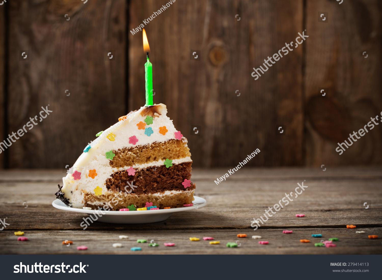 Piece Birthday Cake On Wooden Background Stock Photo 279414113 ...