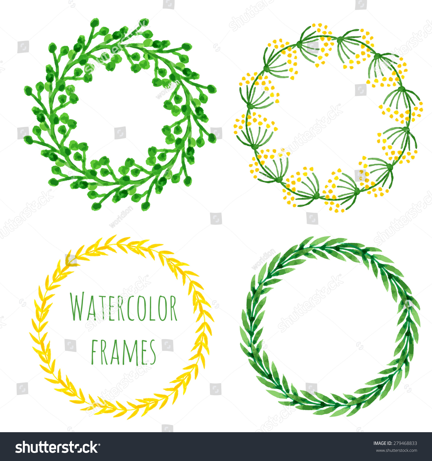 Watercolor Wreath Set Floral Round Frame Stock Vector (Royalty Free ...