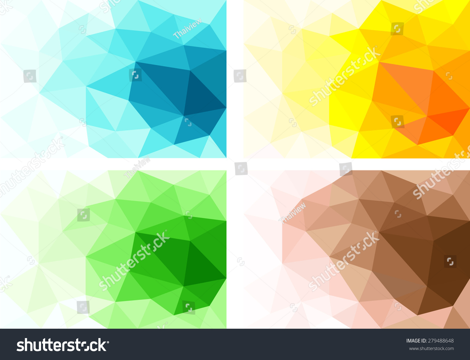 Set Polygonal Triangle Vector Background Brown Stock Vector ...