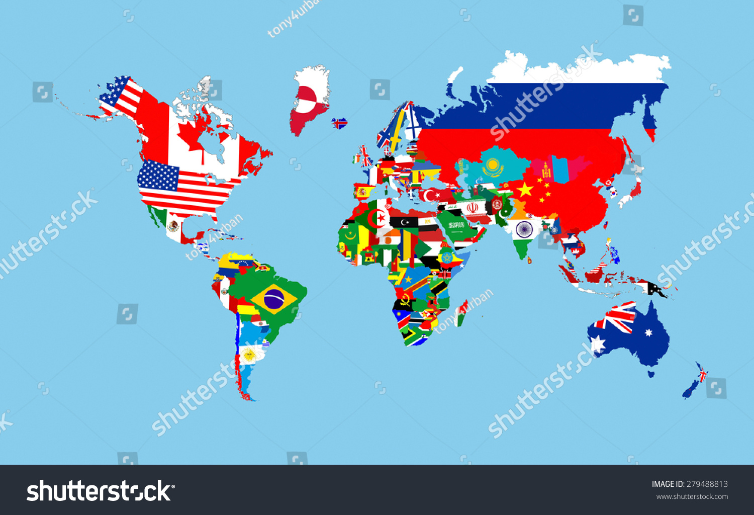 World Countries Flags Map Symbols Complete Stock Illustration
