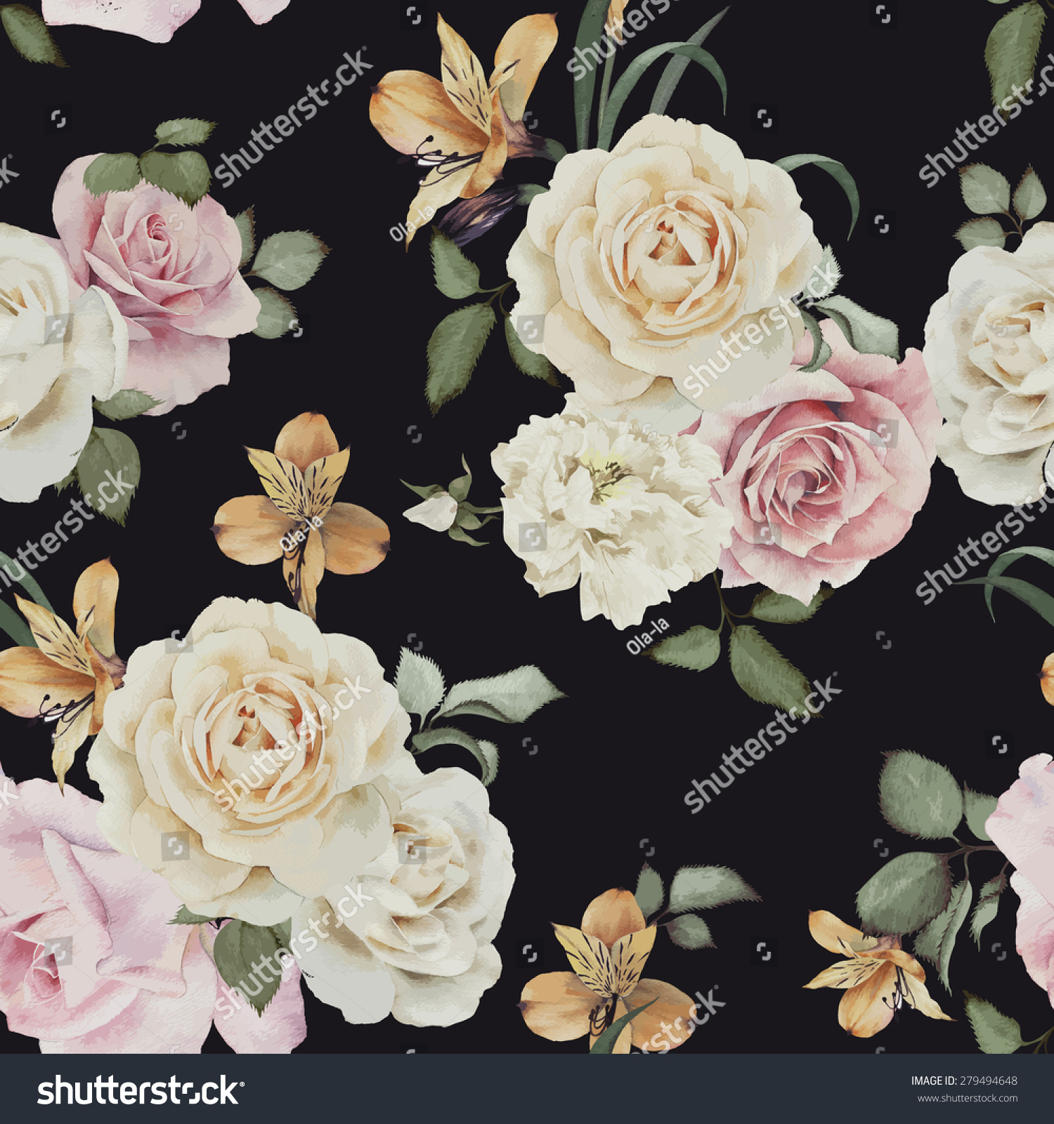 Seamless floral pattern with roses watercolor Vector illustration