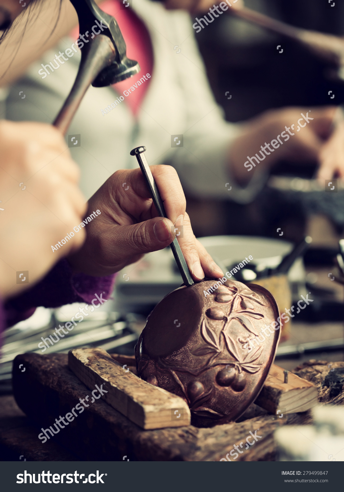 Copper master hands detail craftsman work stock photo