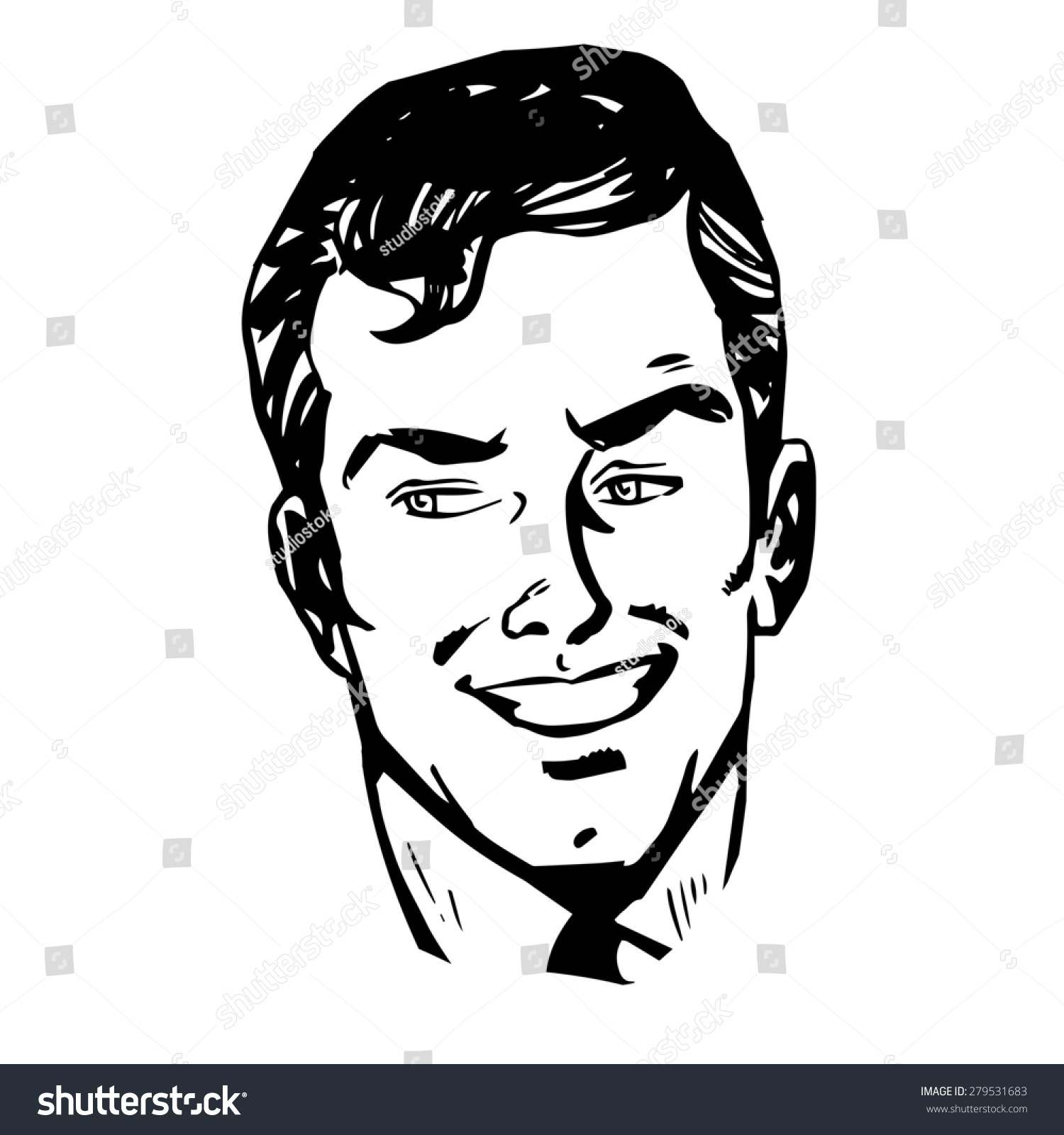 Line Drawing Graphics : Smiling man face retro line art stock vector