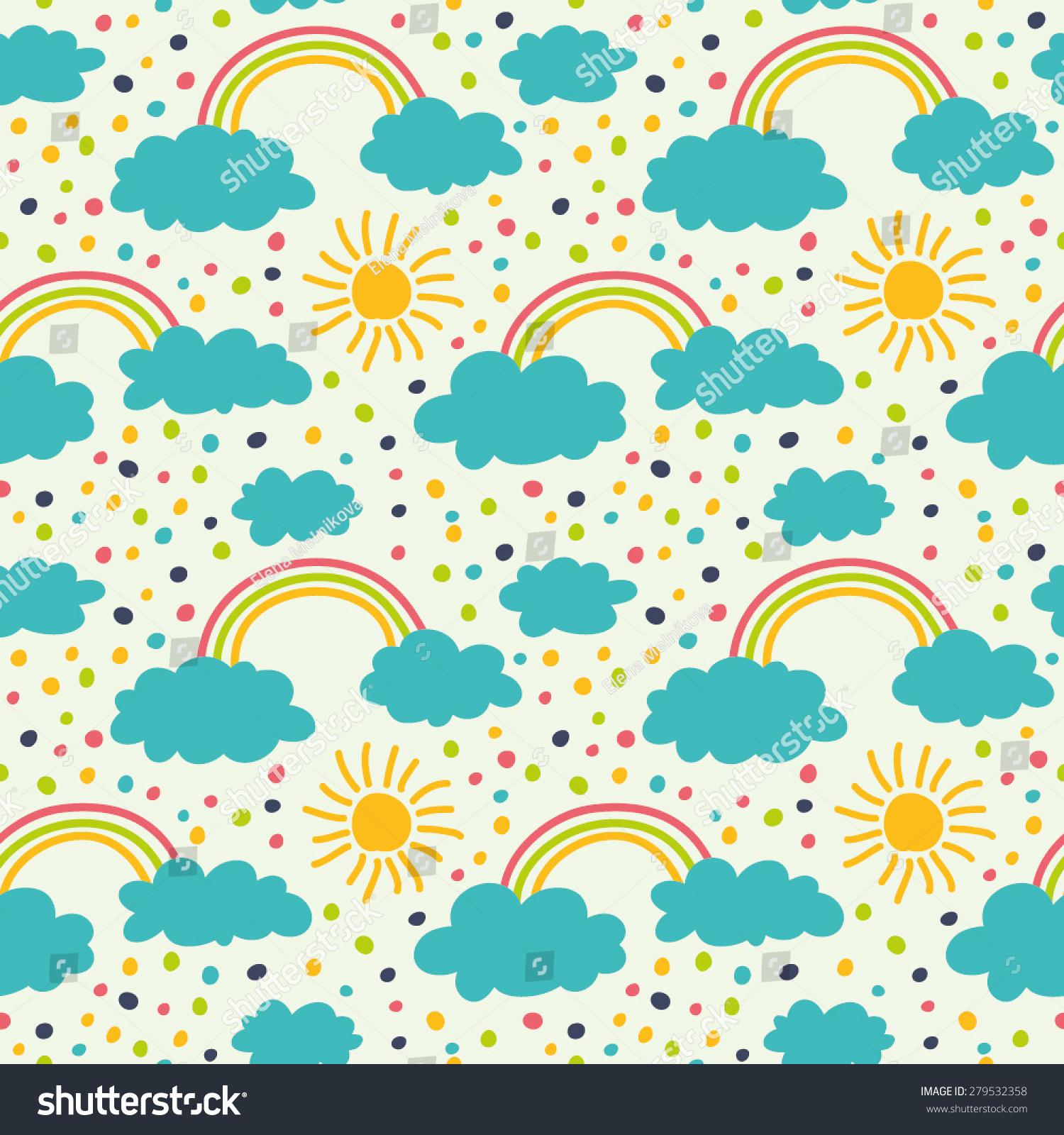 Cute Seamless Pattern Cloud Sun Rainbow Stock Vector