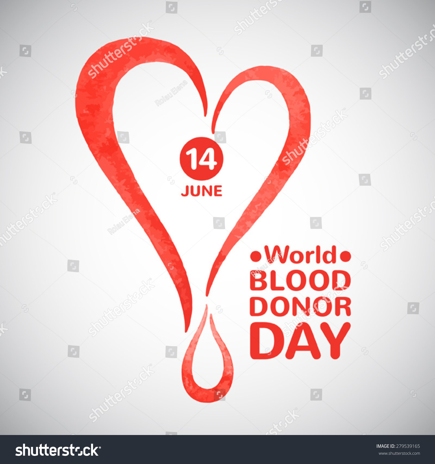 World blood donor day vector illustration stock vector 279539165 world blood donor day vector illustration stylized watercolor heart with drop date and typographic buycottarizona