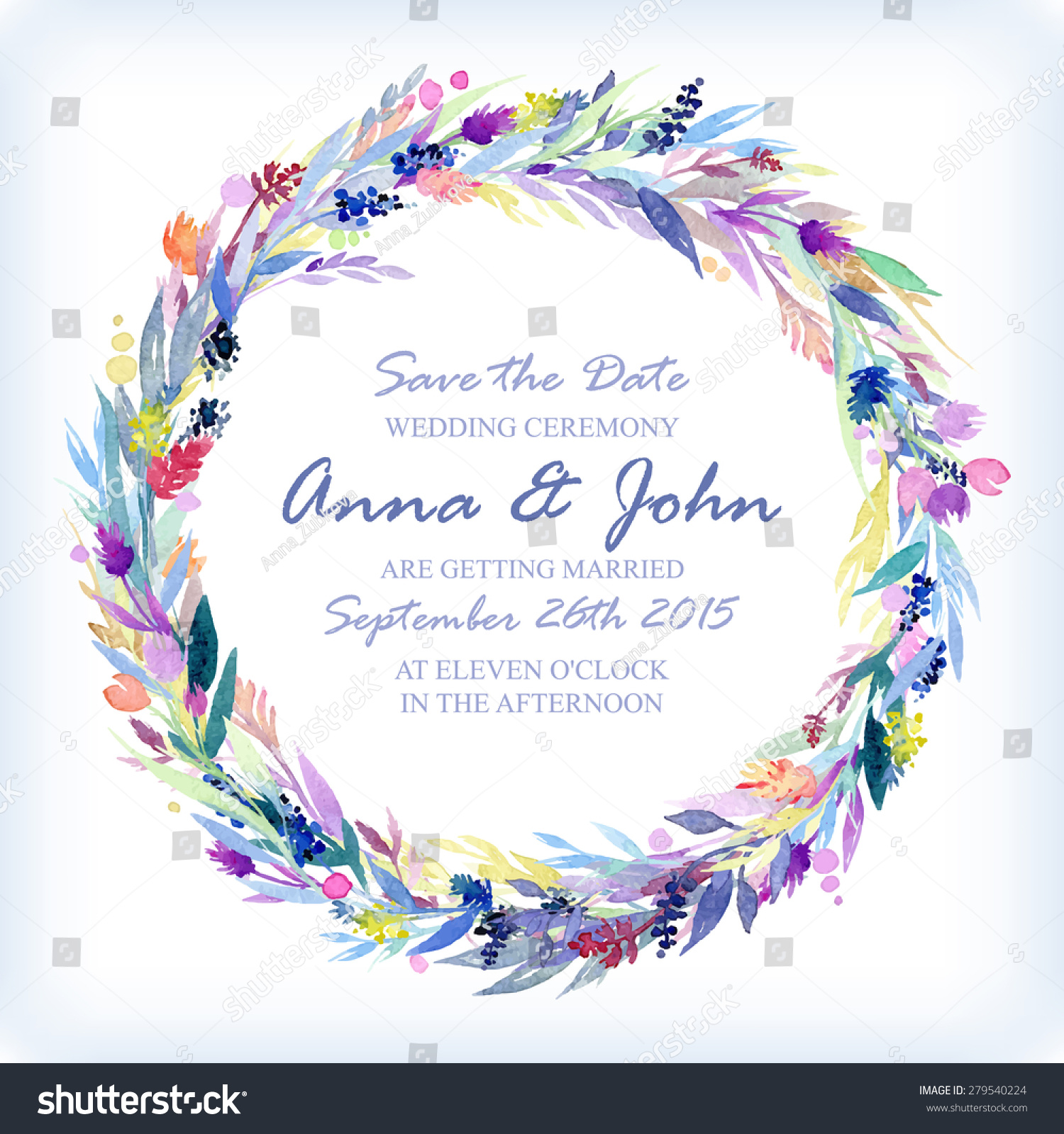 Wedding Invitation Design Template Watercolor Floral Stock Vector ...