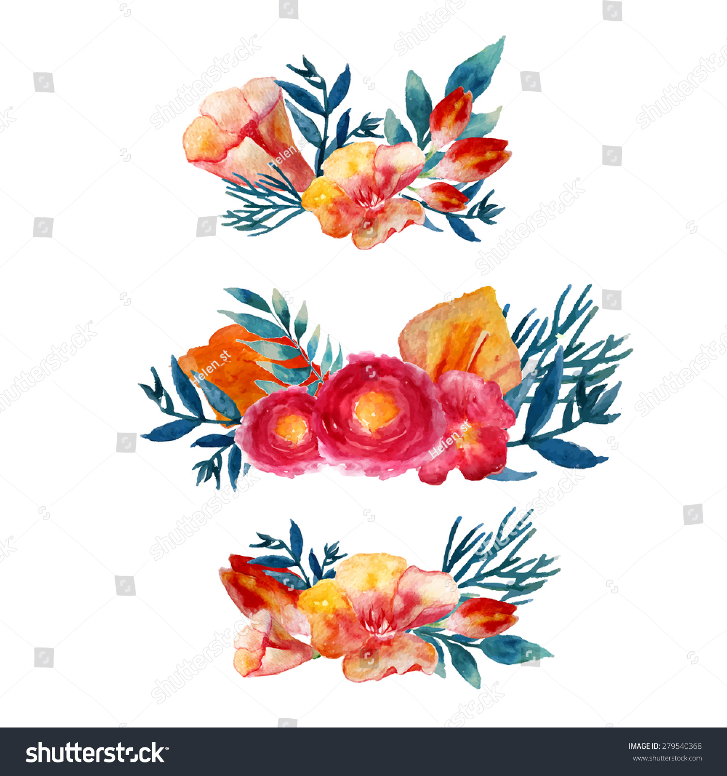 Watercolor hand drawn flower wreath for design artistic isolated - Vector Watercolor Floral Wreath Set Vintage Stock Vector