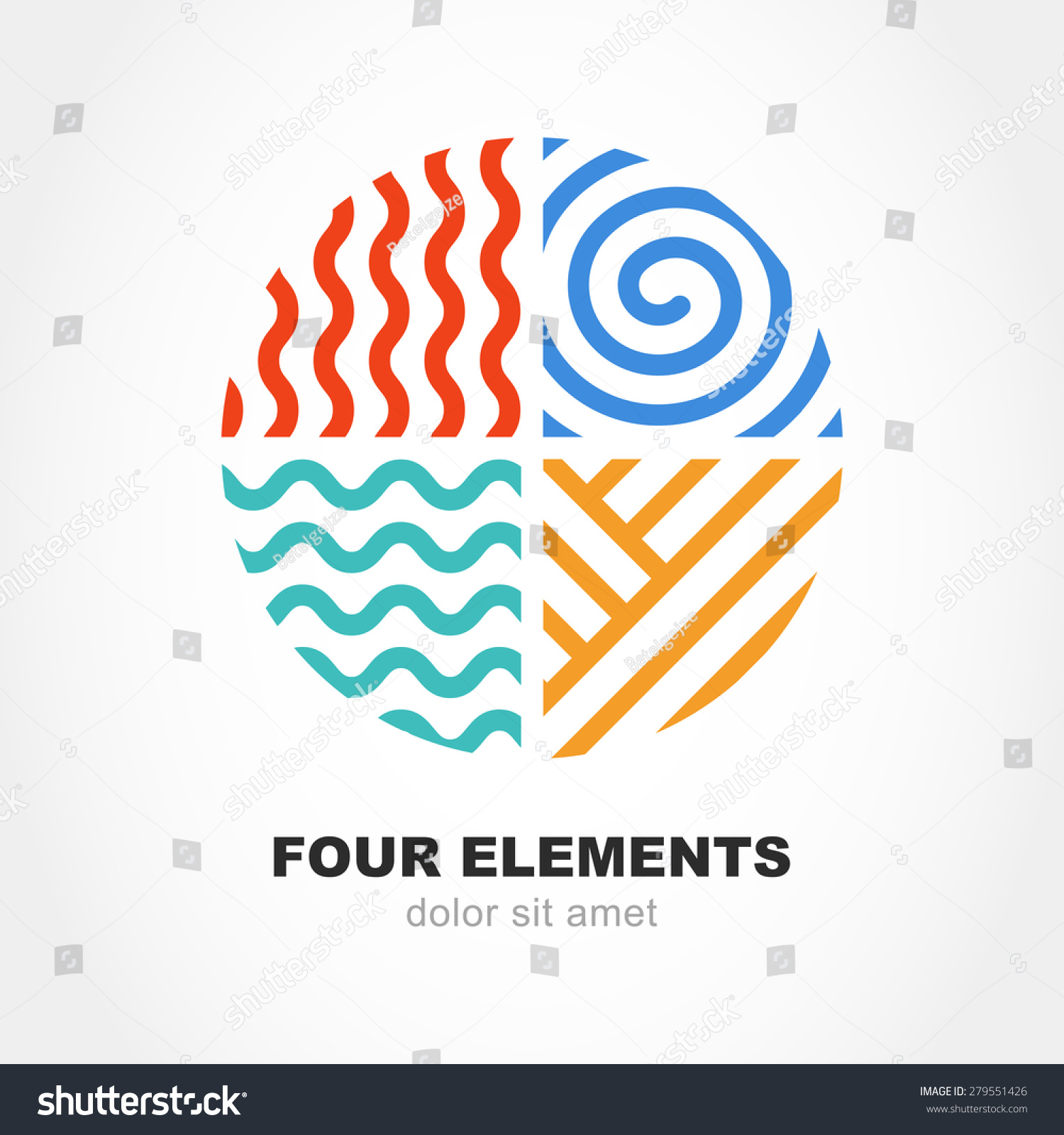 four elements simple line symbol circle stock vector 279551426 shutterstock. Black Bedroom Furniture Sets. Home Design Ideas