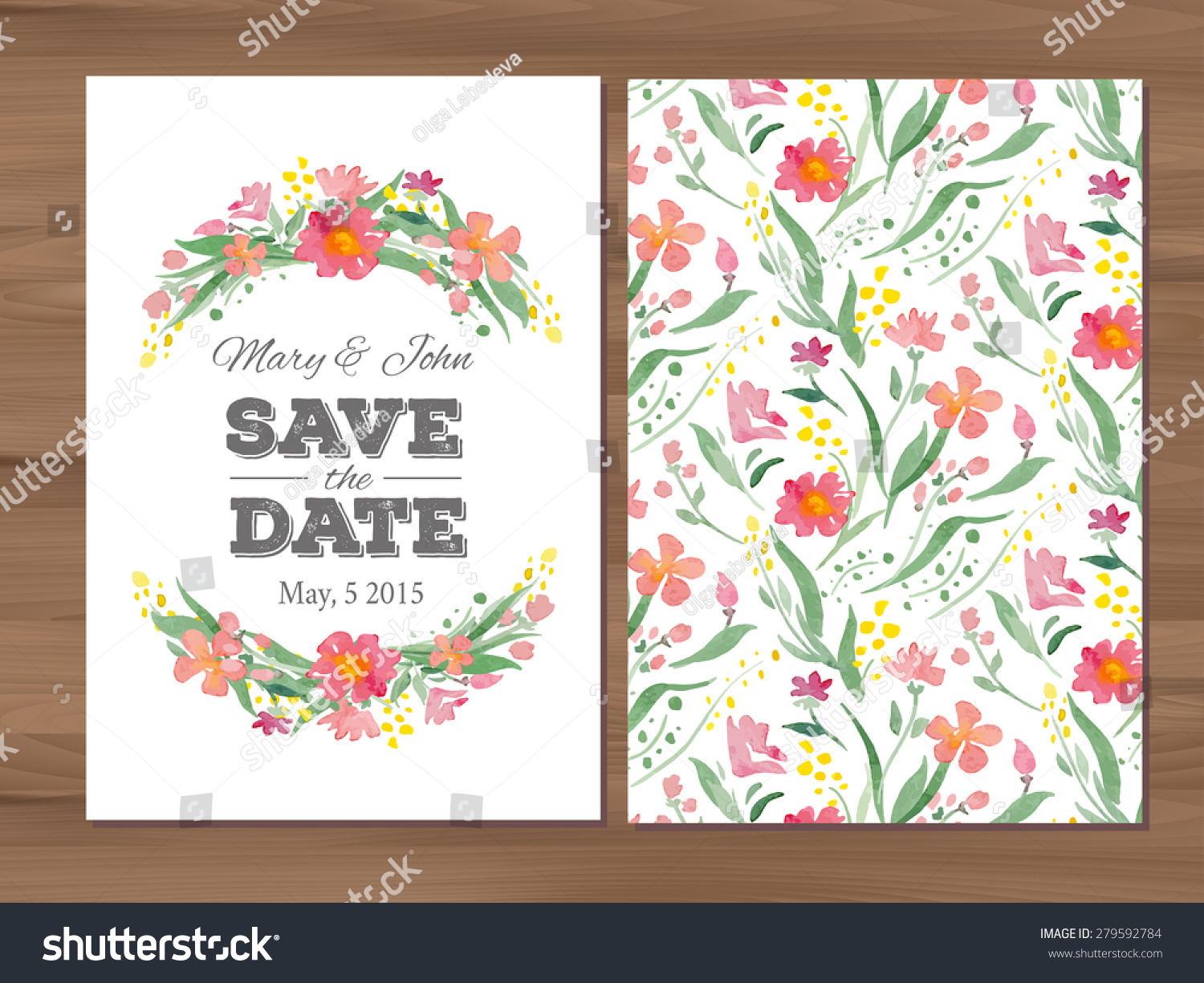 Save Date Wedding Invitation Watercolor Flowers Stock Vector ...